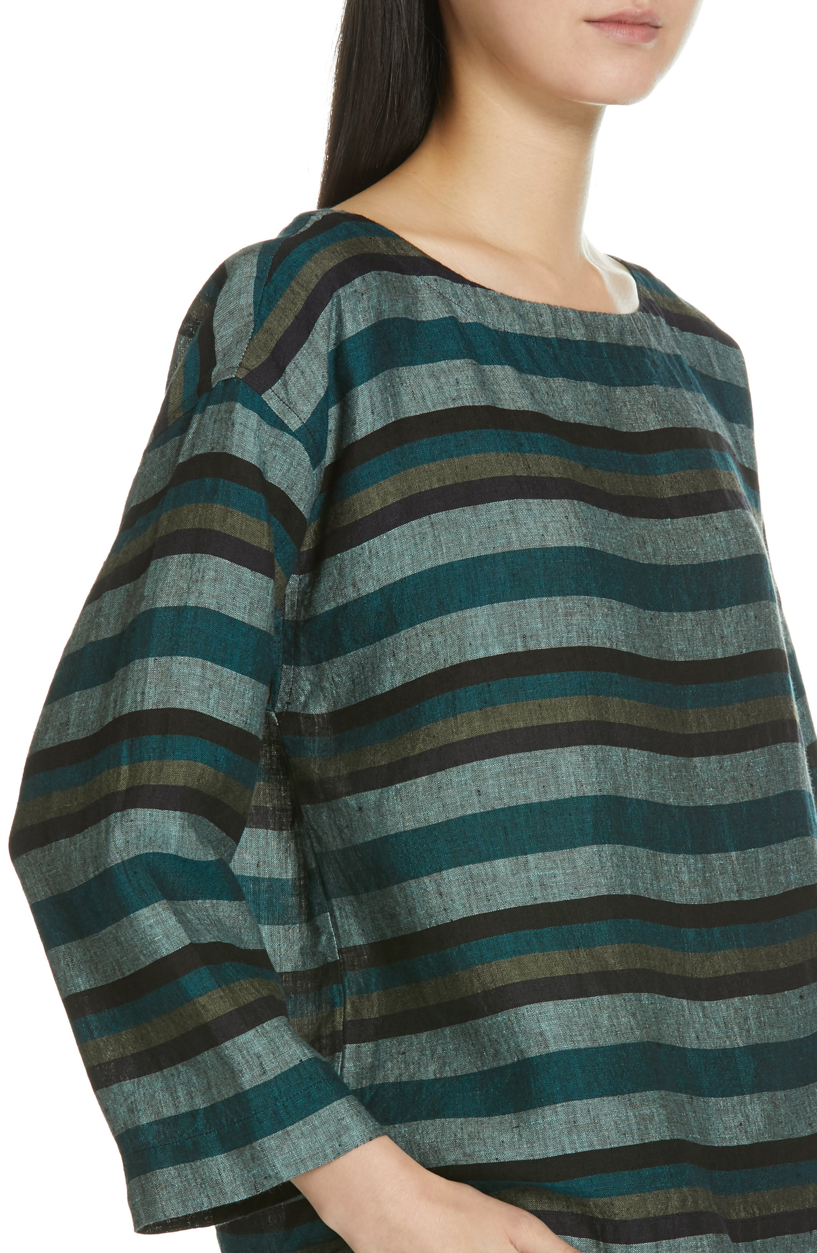 Stripe Organic Linen Top,                             Alternate thumbnail 4, color,                             TEAL
