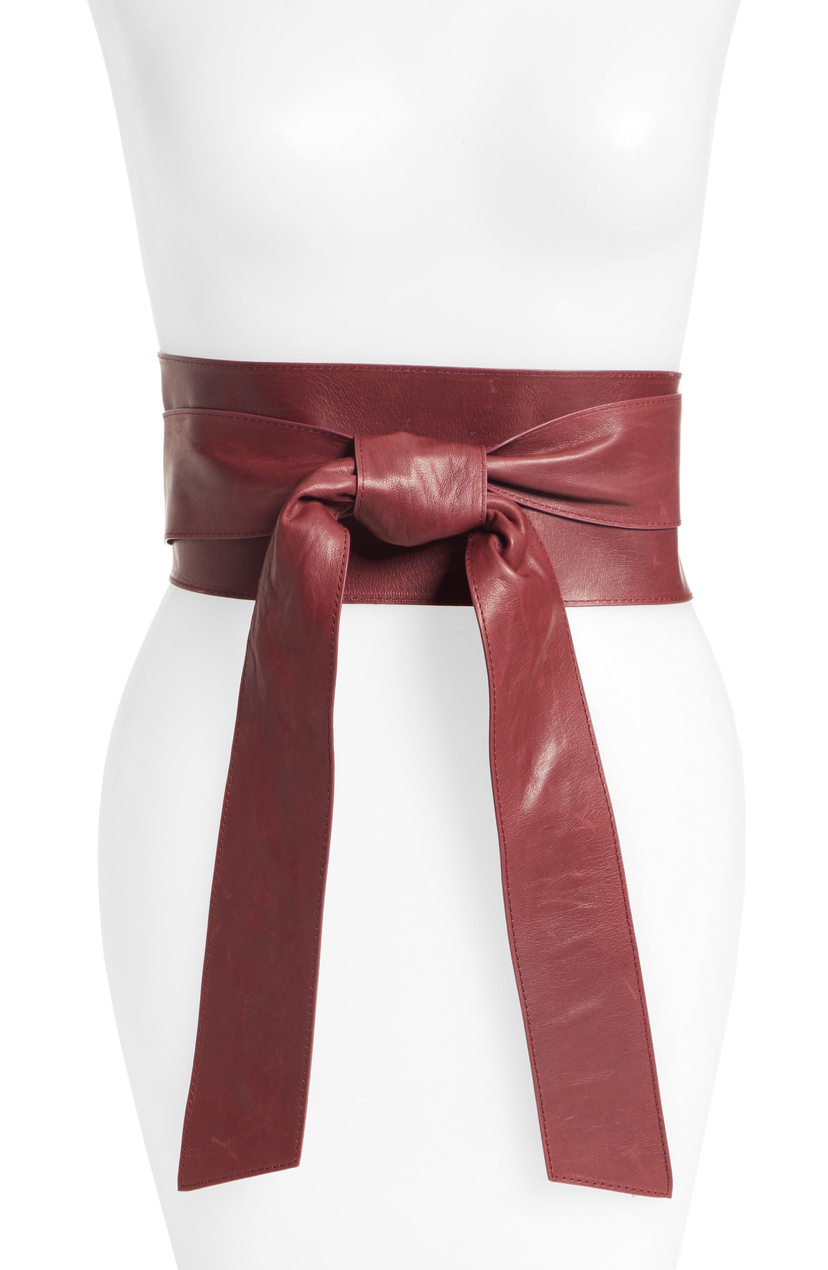 Leather Obi Belt,                         Main,                         color, CABERNET