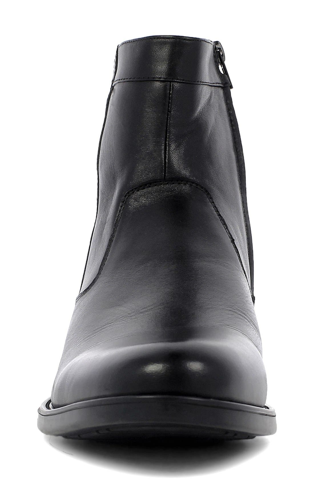 'Midtown' Zip Boot,                             Alternate thumbnail 3, color,                             BLACK LEATHER