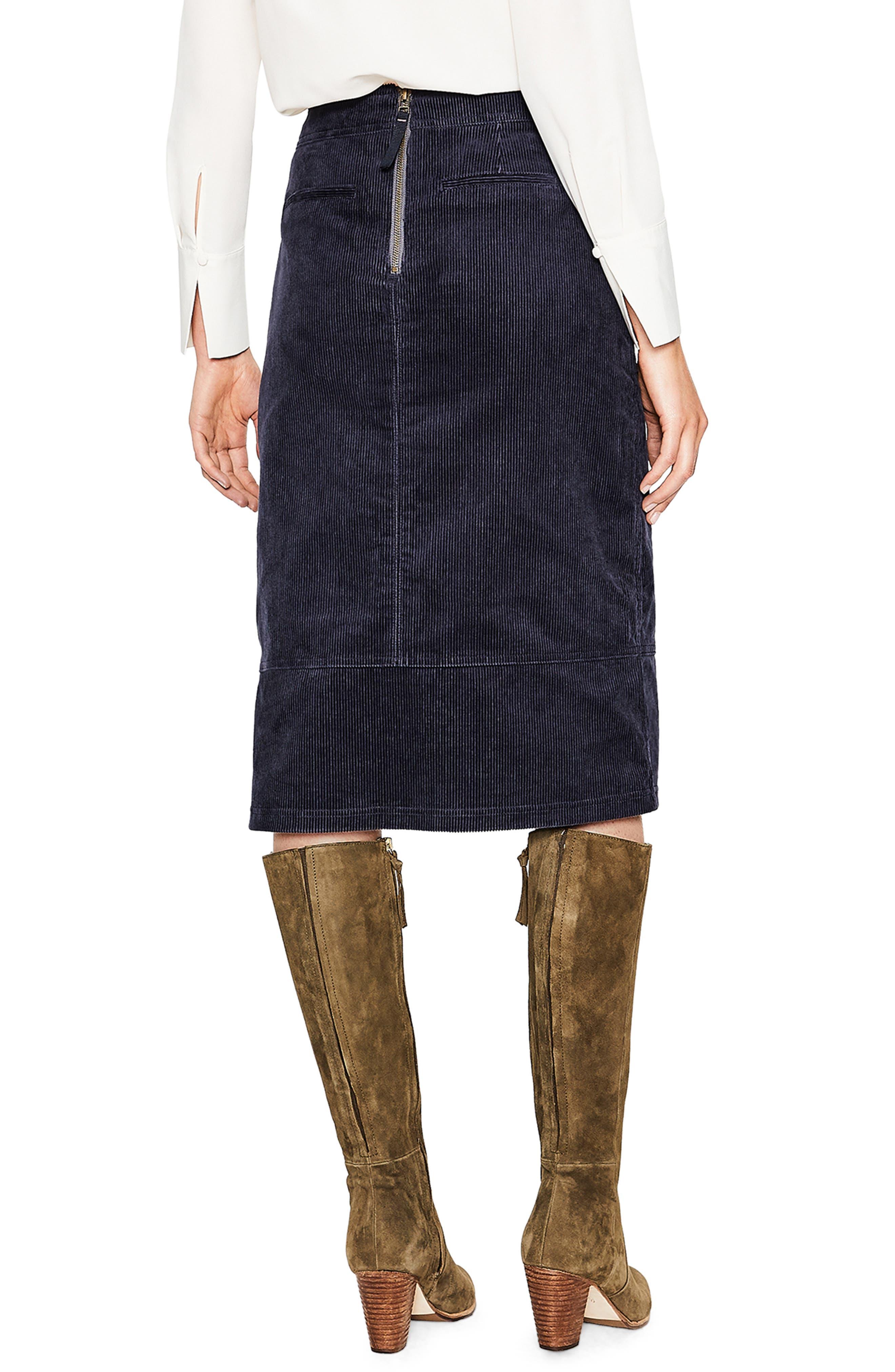 Patch Pocket Corduroy Midi Skirt,                             Alternate thumbnail 2, color,                             024
