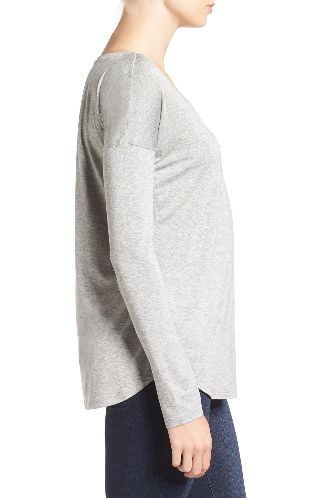 'Bess' Stretch Jersey Boatneck Tee,                             Alternate thumbnail 8, color,