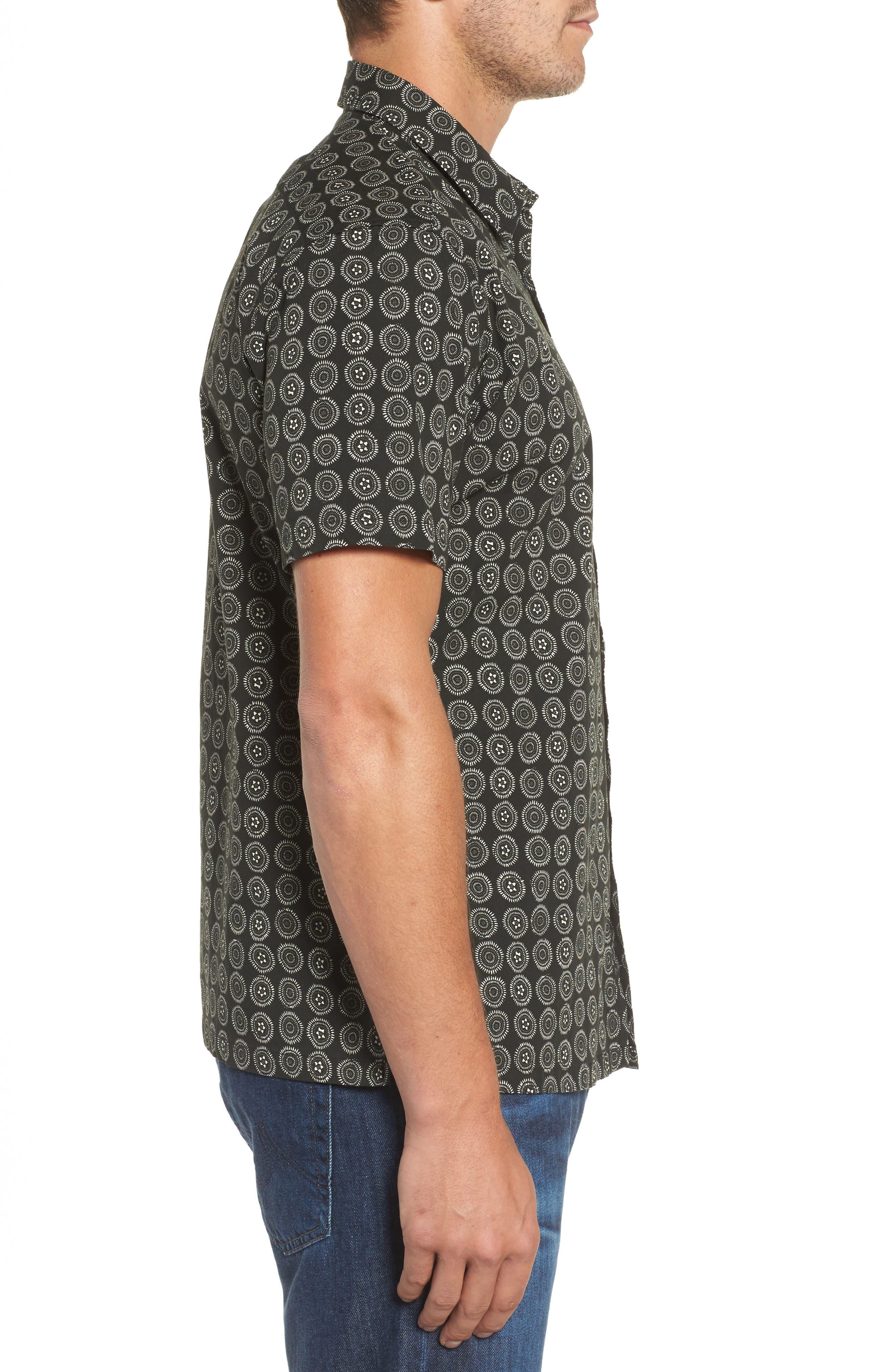 Sea Crest Slim Fit Print Camp Shirt,                             Alternate thumbnail 3, color,                             001