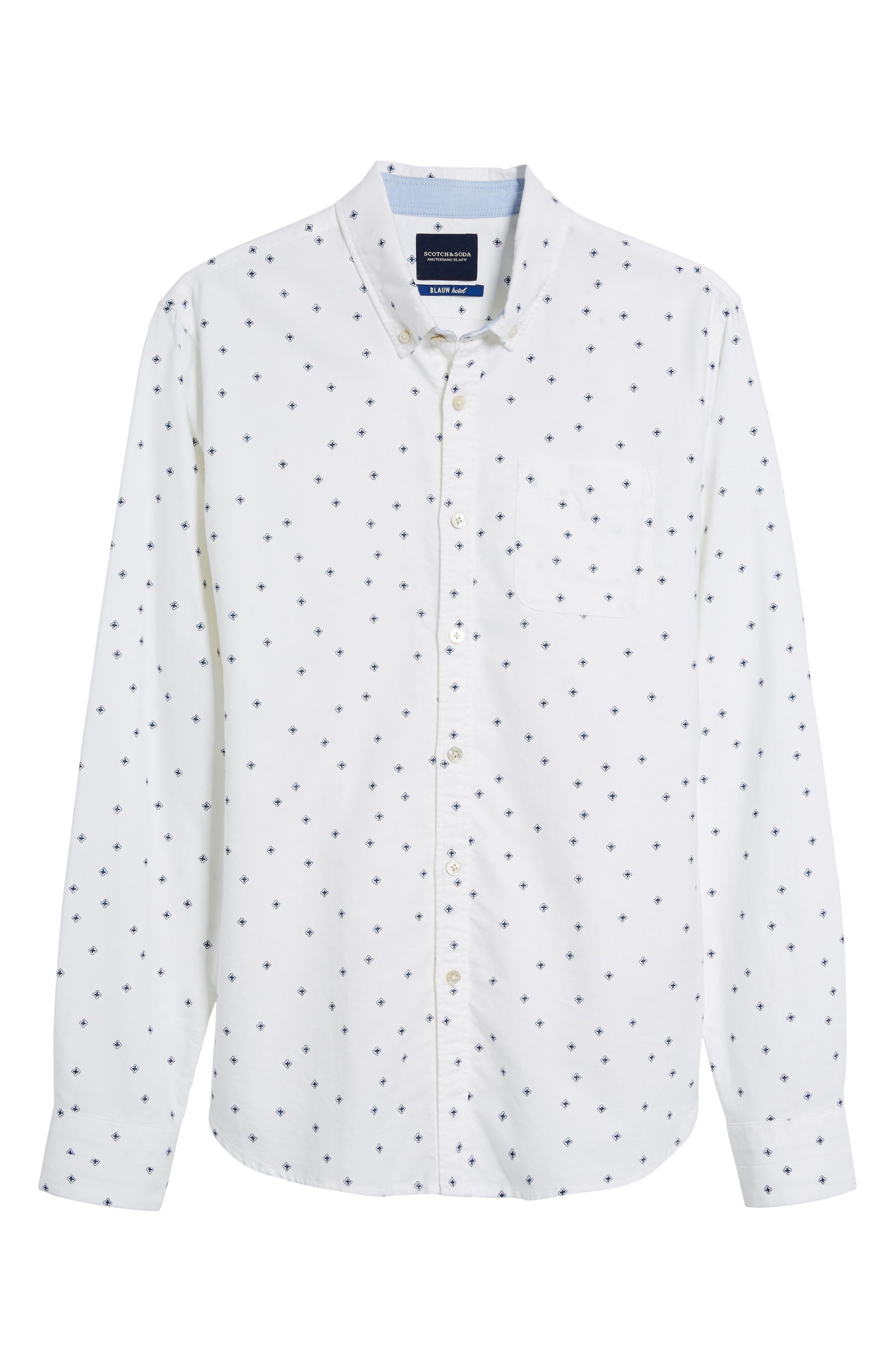 Slim Fit Allover Print Shirt,                             Alternate thumbnail 6, color,                             110