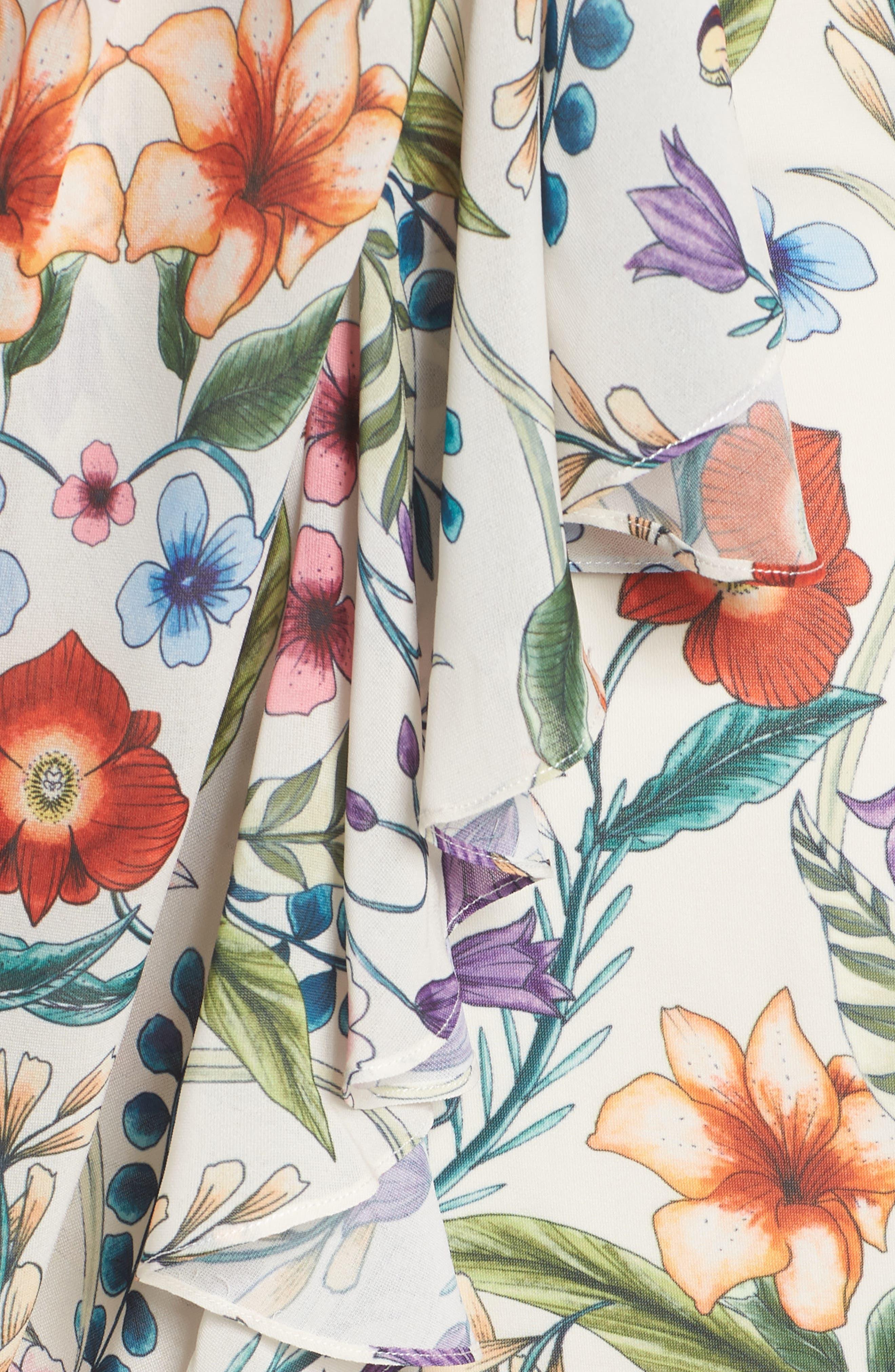 Gardenia Vintage Asymmetrical Dress,                             Alternate thumbnail 5, color,                             100