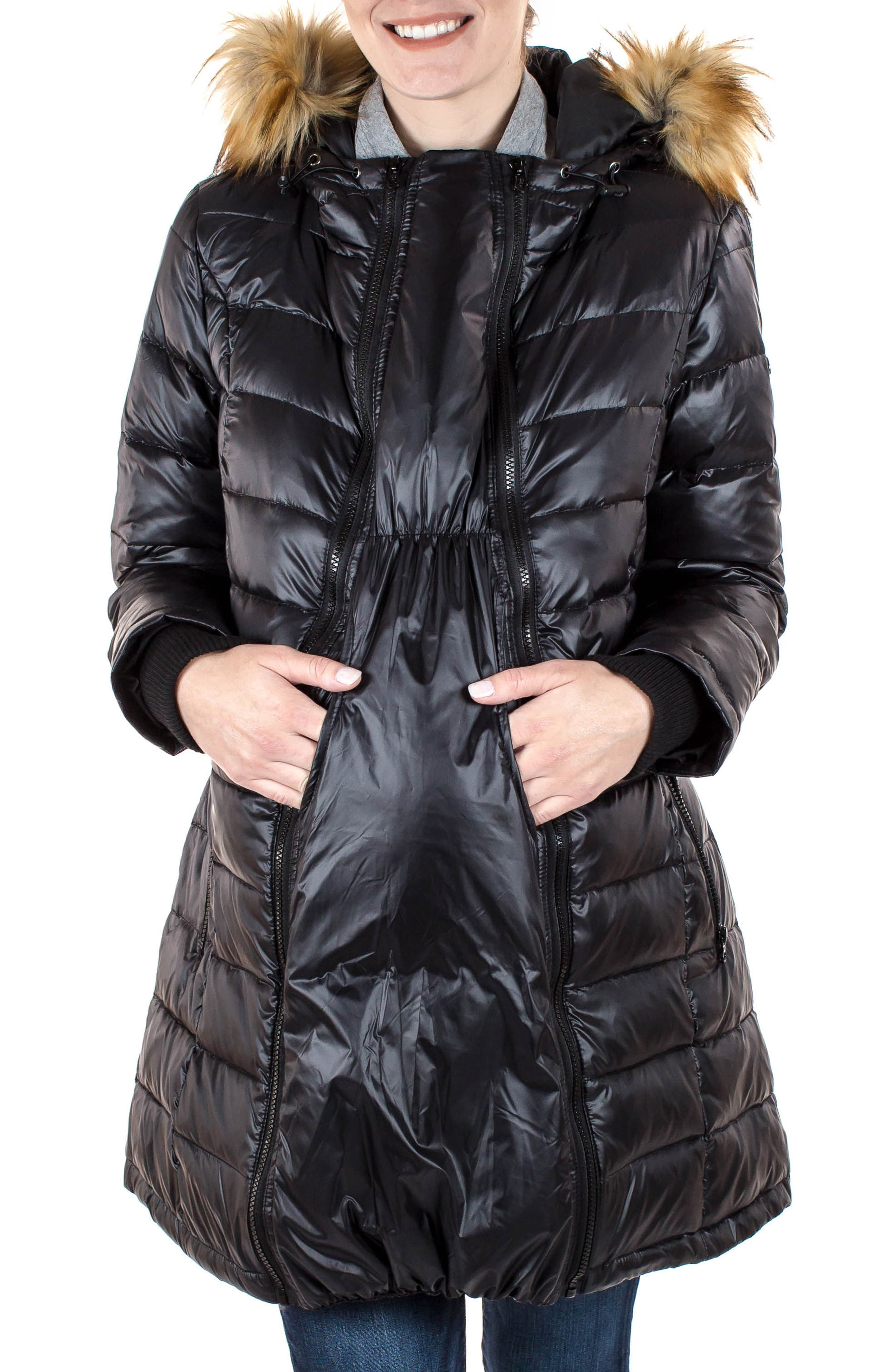Quilted 3-in-1 Maternity/Nursing Parka,                             Alternate thumbnail 11, color,                             BLACK