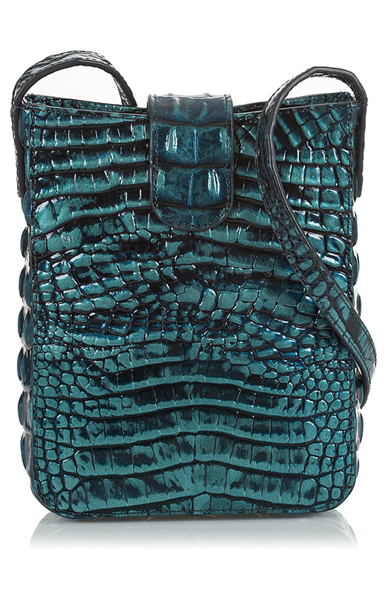 Marley Croc Embossed Leather Crossbody Bag,                             Alternate thumbnail 2, color,                             VERDIGRIS