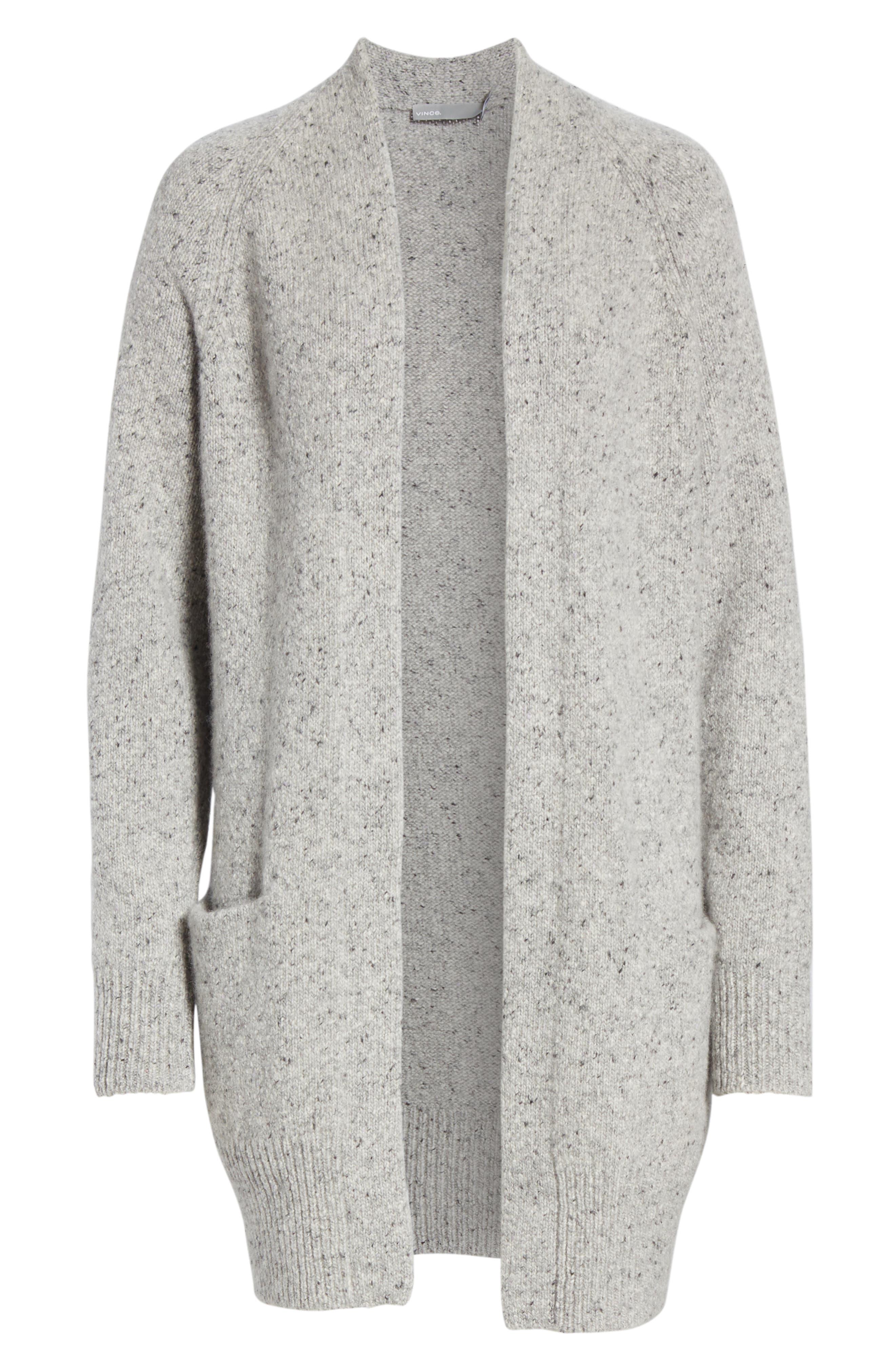 Cashmere Raglan Sleeve Open Front Cardigan,                             Alternate thumbnail 6, color,                             SOFT GREY