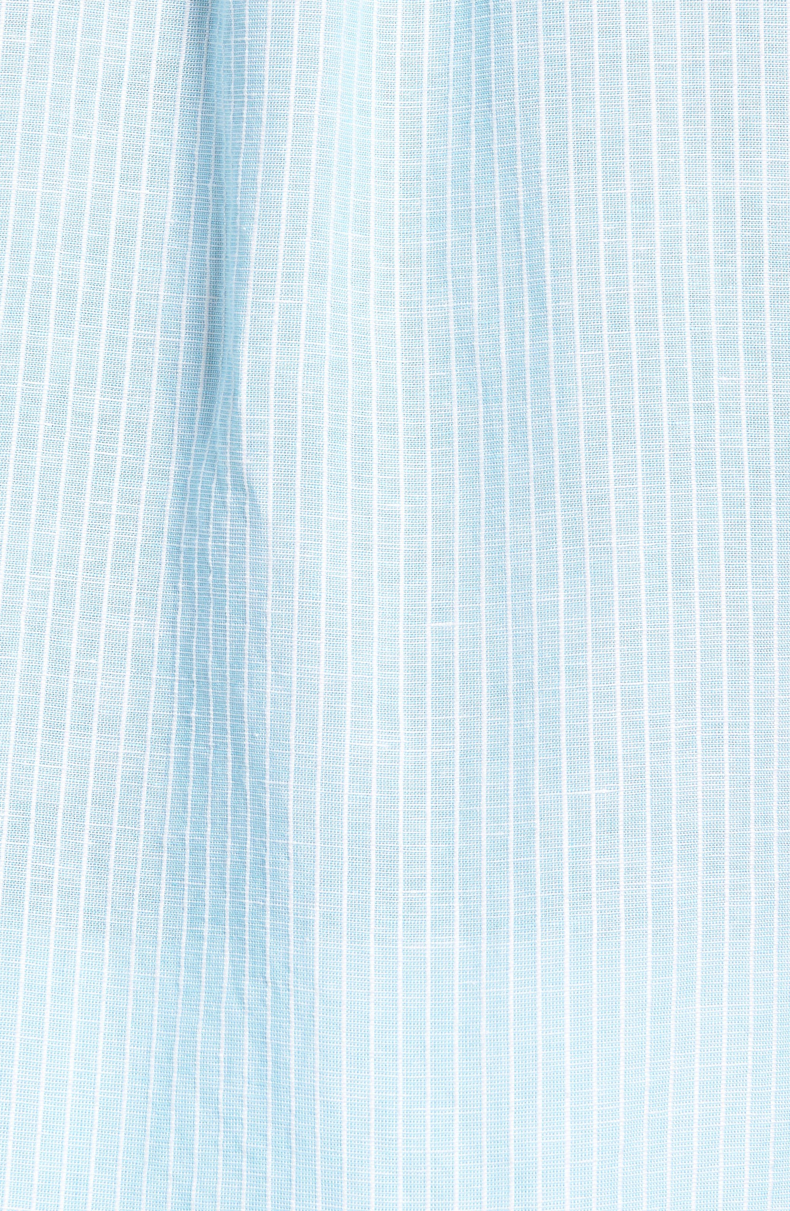 Sand Linen Dobby Stripe Sport Shirt,                             Alternate thumbnail 5, color,                             BLUE RADIANCE