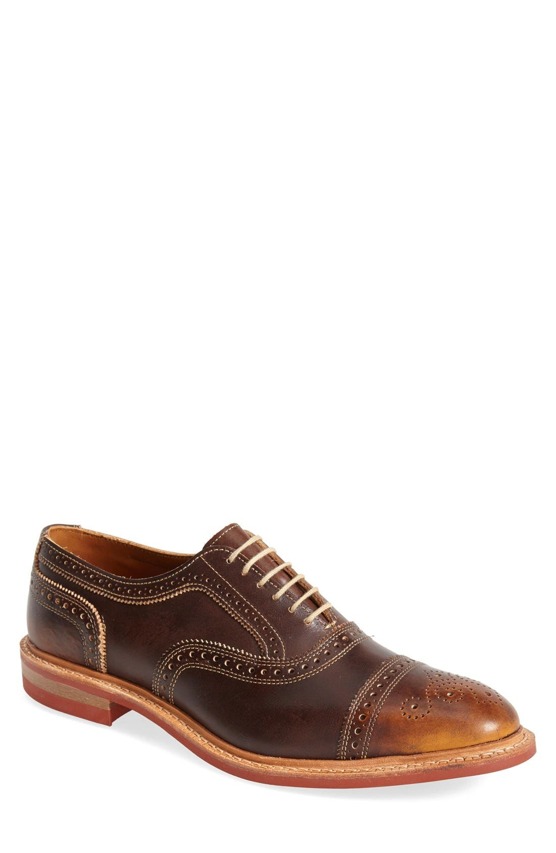'Strandmok' Cap Toe Oxford,                             Main thumbnail 1, color,                             BROWN LEATHER