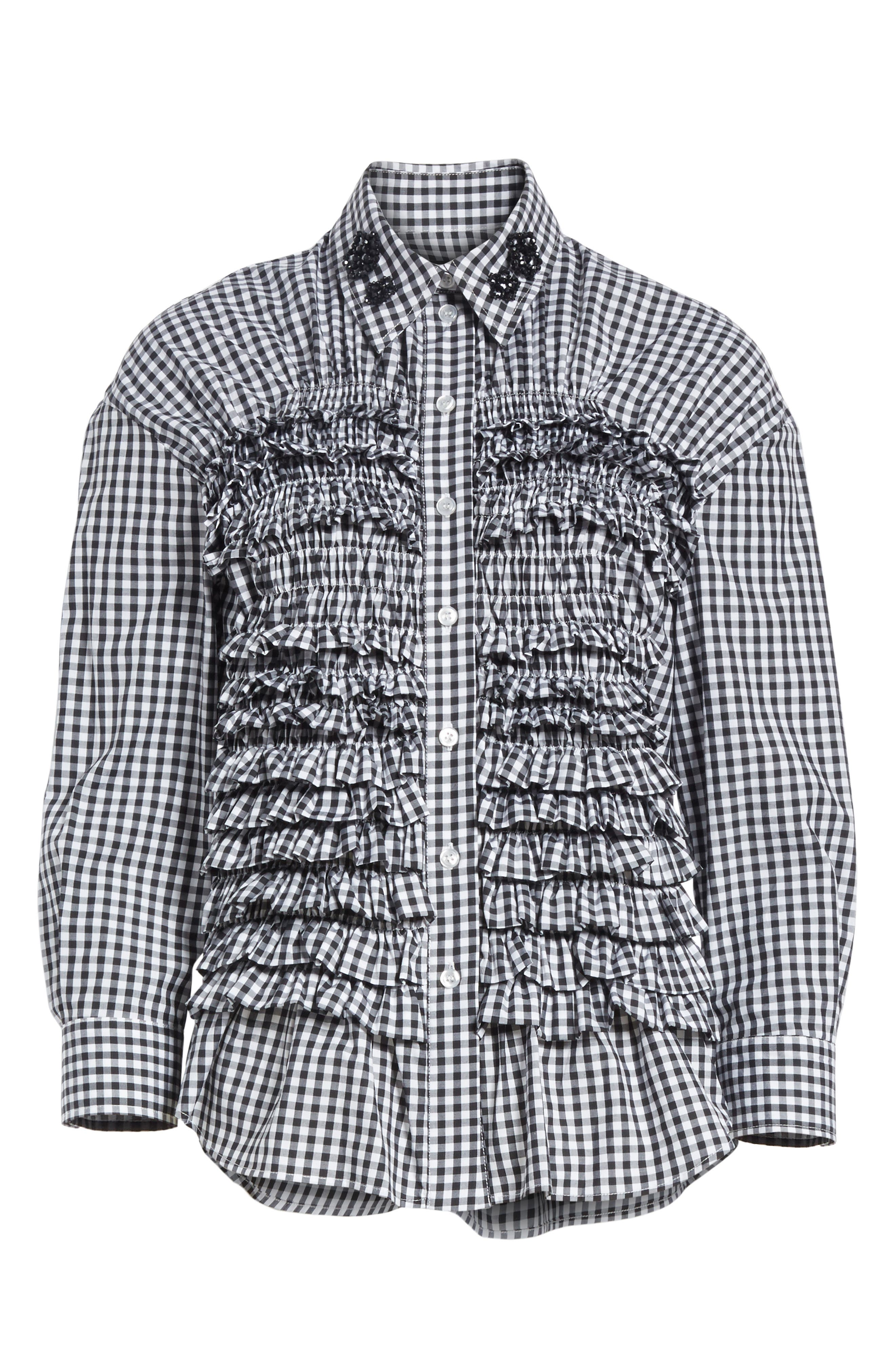 Beaded Smock Front Shirt,                             Alternate thumbnail 6, color,                             100