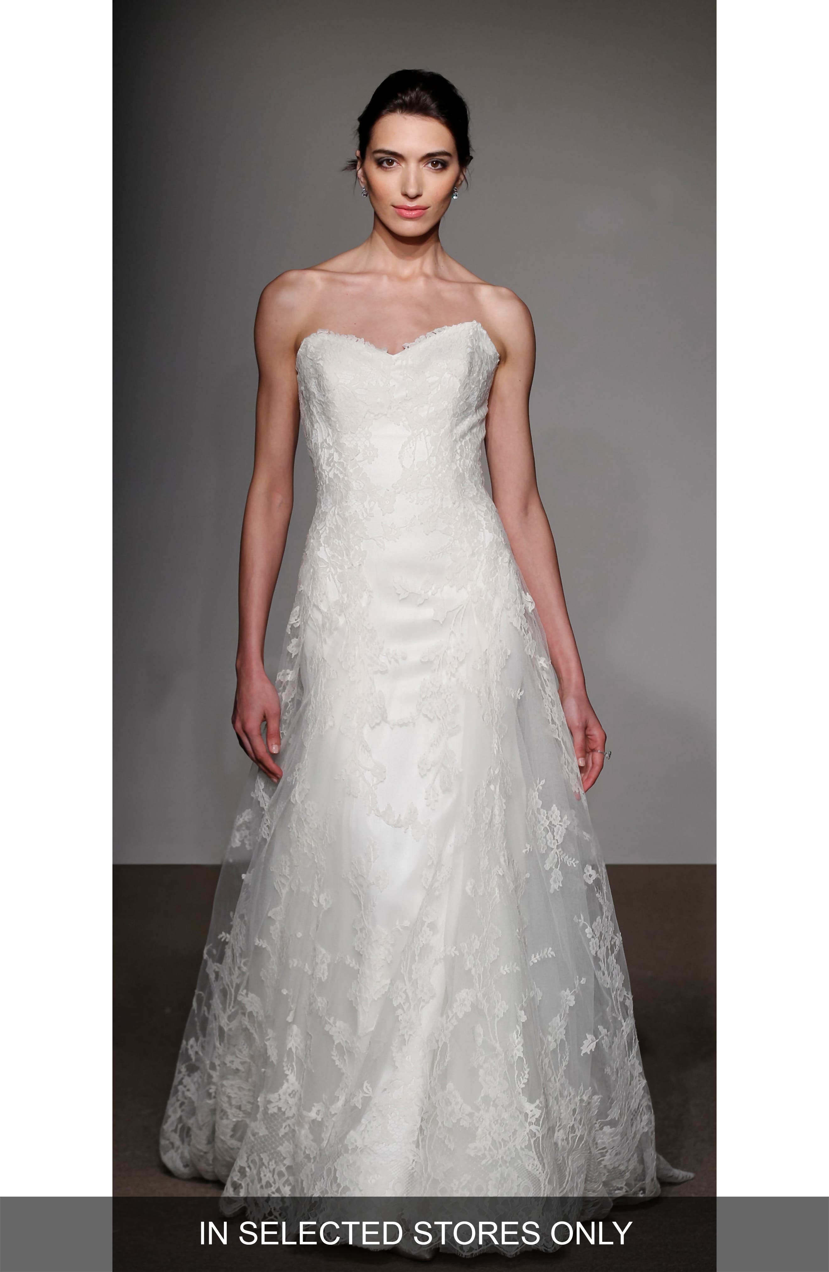 Liliane Strapless Lace Gown,                         Main,                         color, WHITE
