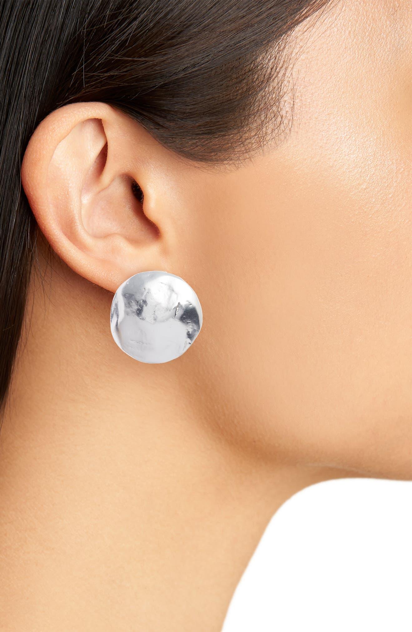 Eva Shell Disc Clip-On Earrings,                             Alternate thumbnail 2, color,                             SILVER