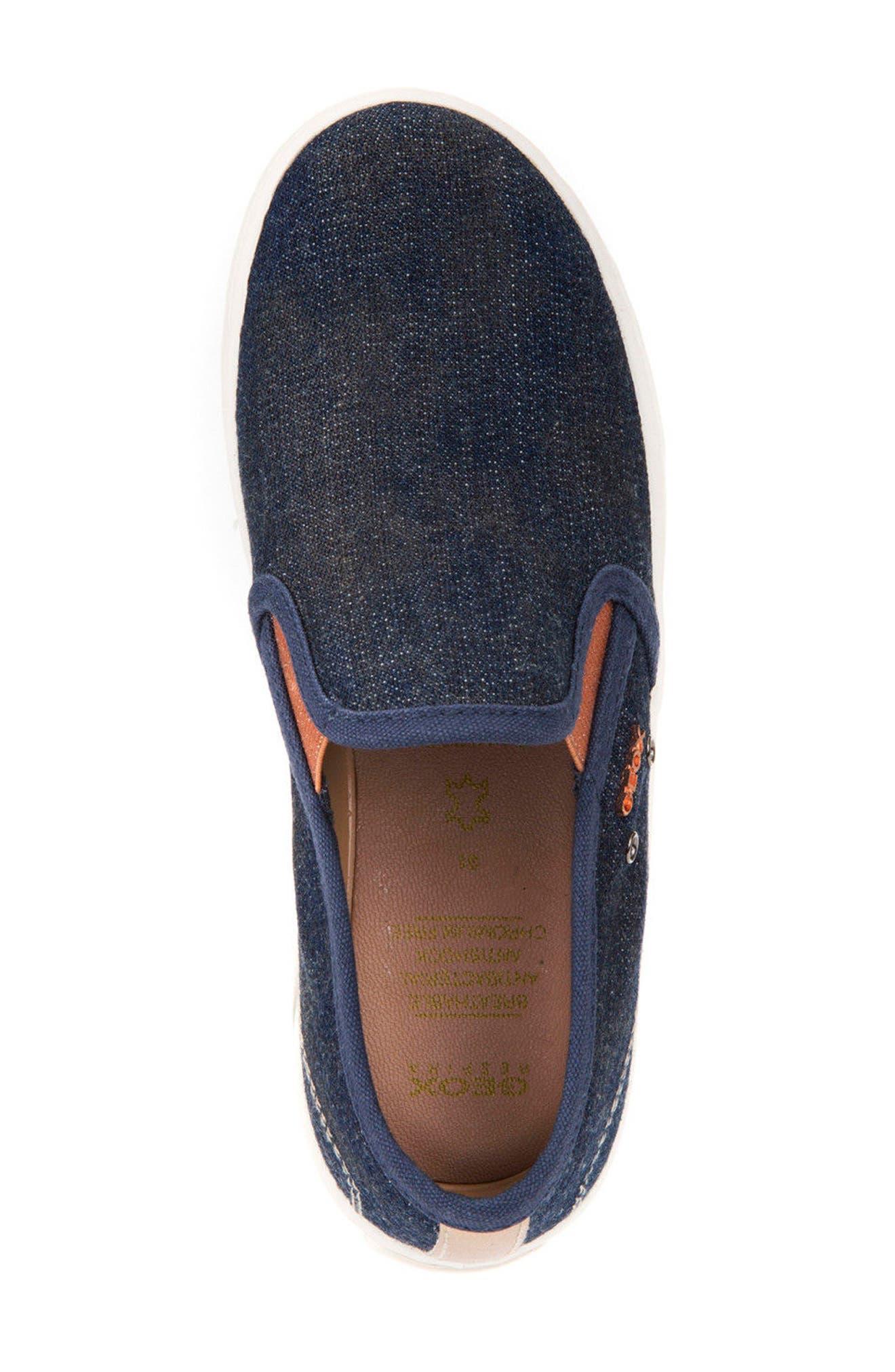 Jr Kiwi Slip-On Waterproof Sneaker,                             Alternate thumbnail 5, color,                             JEANS
