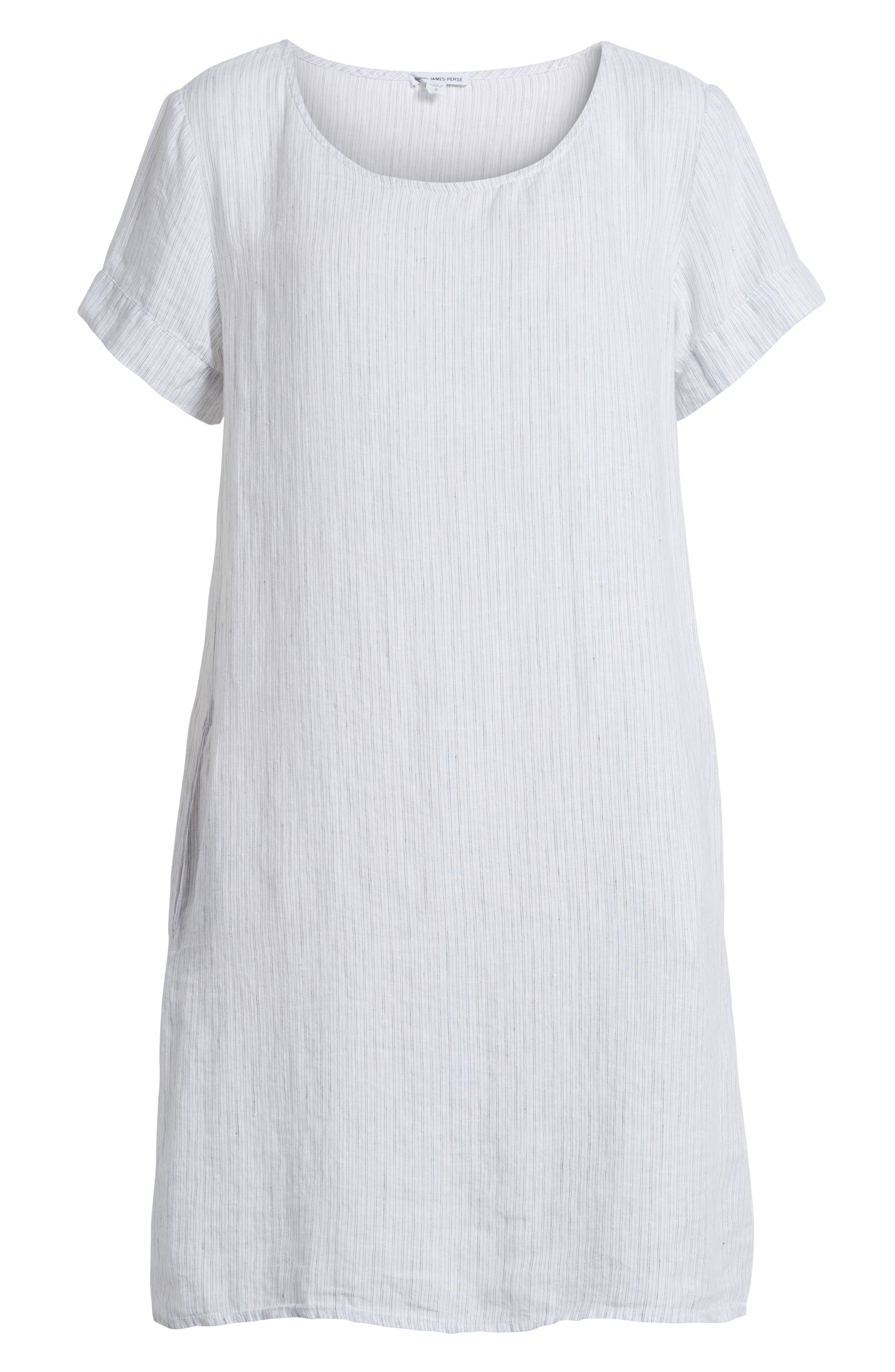 Stripe Linen Dress,                             Alternate thumbnail 6, color,                             053