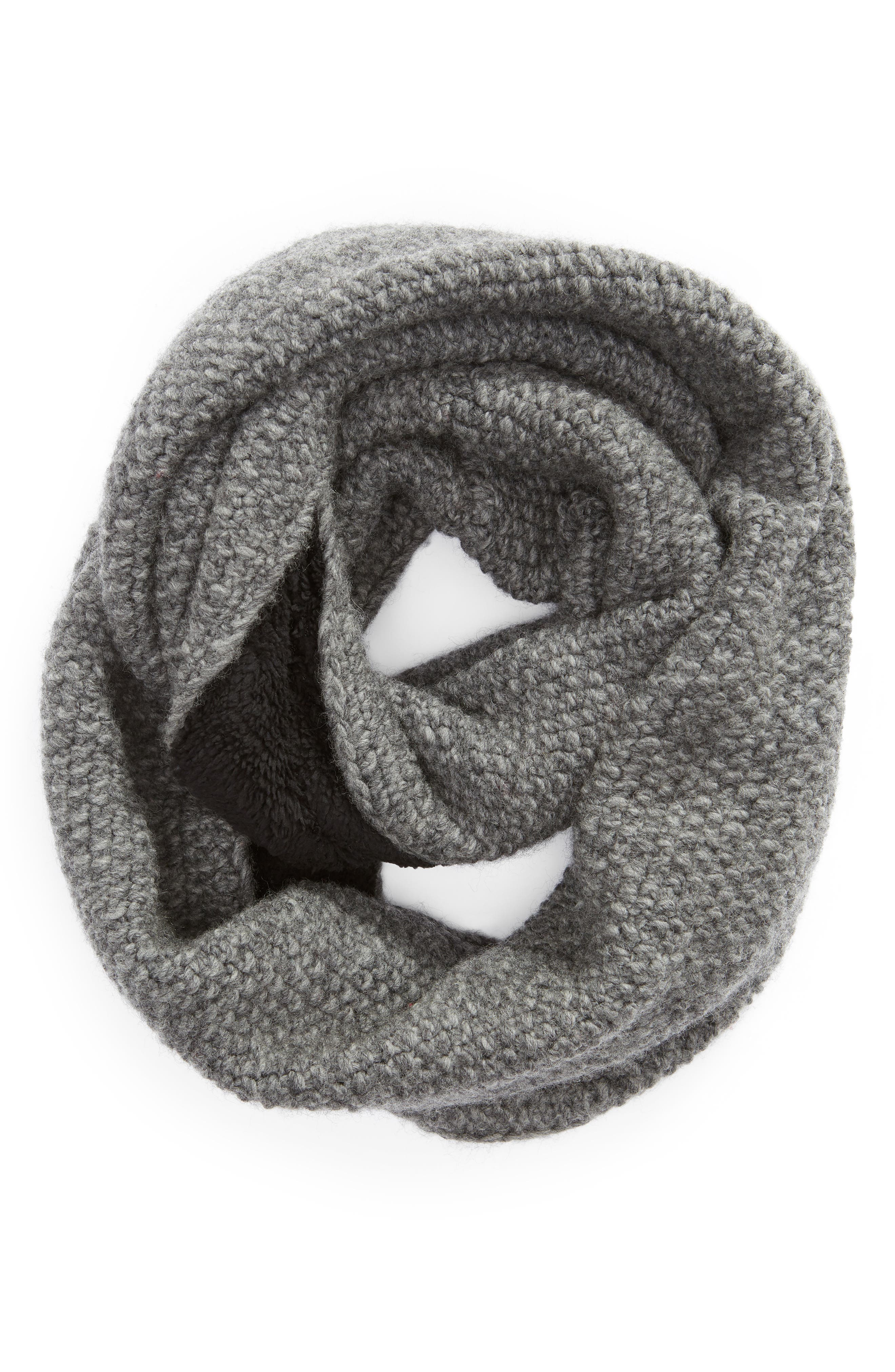 Knit Wool Infinity Scarf,                             Alternate thumbnail 2, color,                             CHARCOAL
