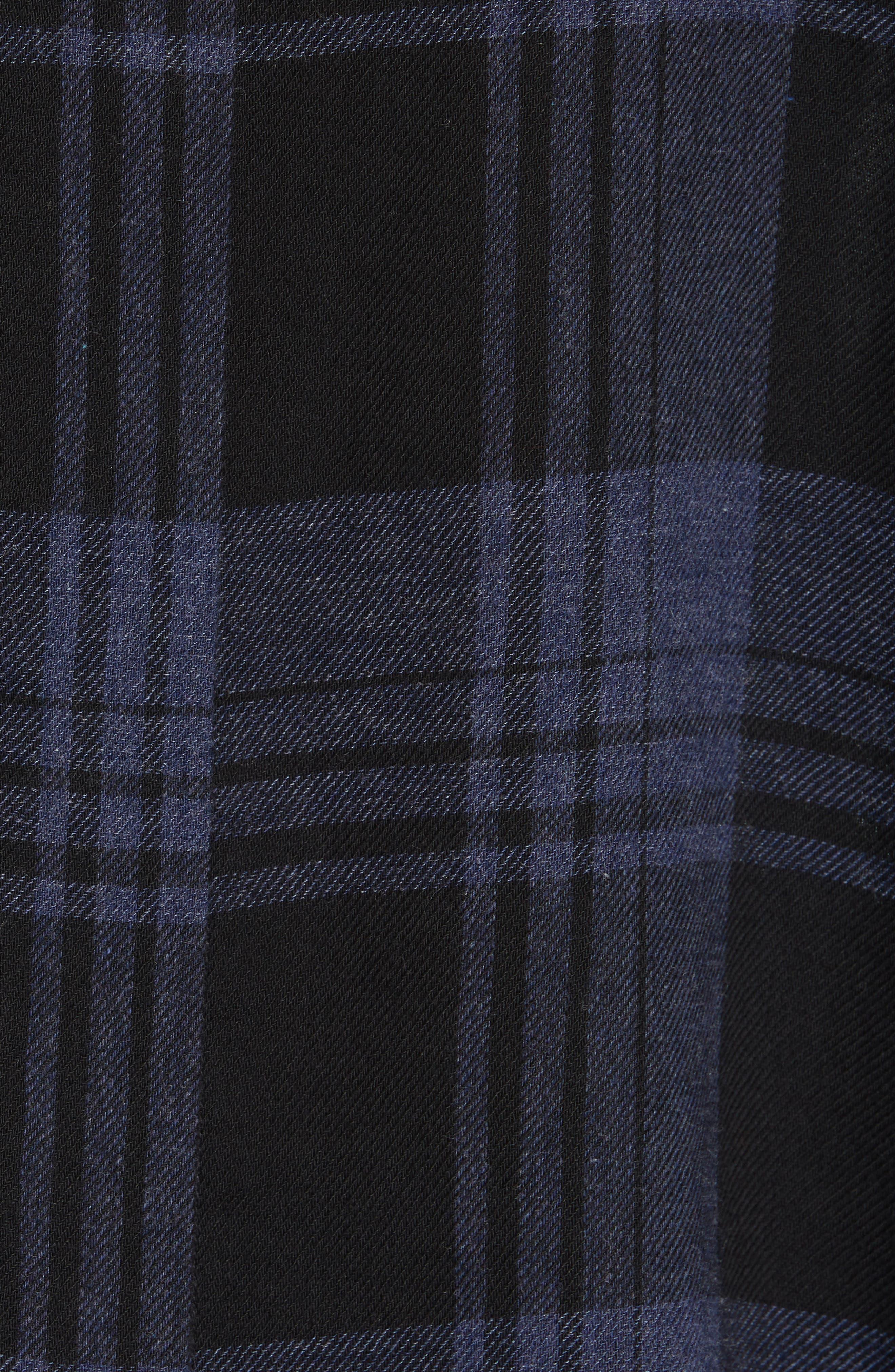 Heathered Plaid Top,                             Alternate thumbnail 5, color,                             BLACK