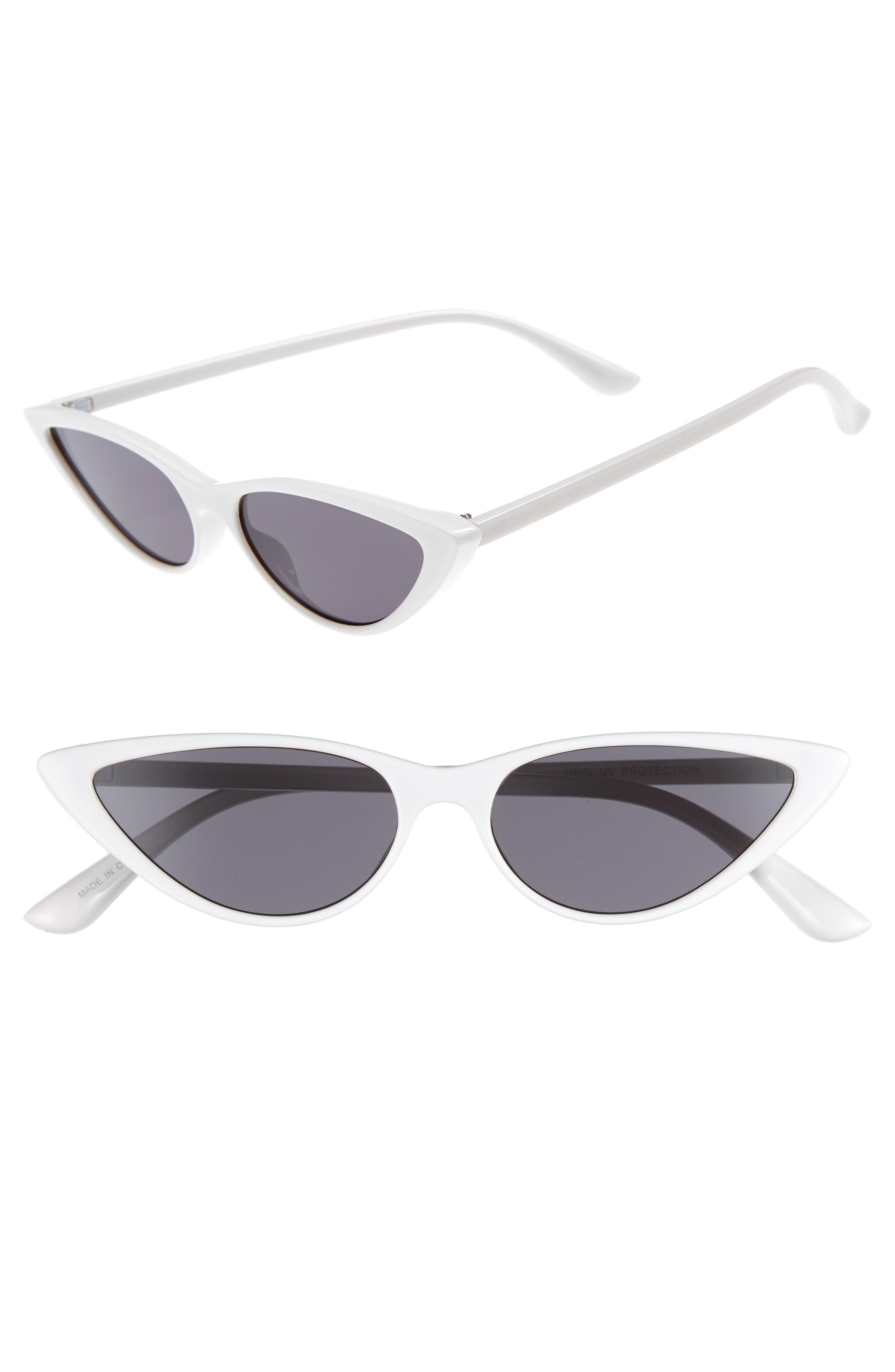 55mm Cat Eye Sunglasses,                             Main thumbnail 1, color,                             WHITE