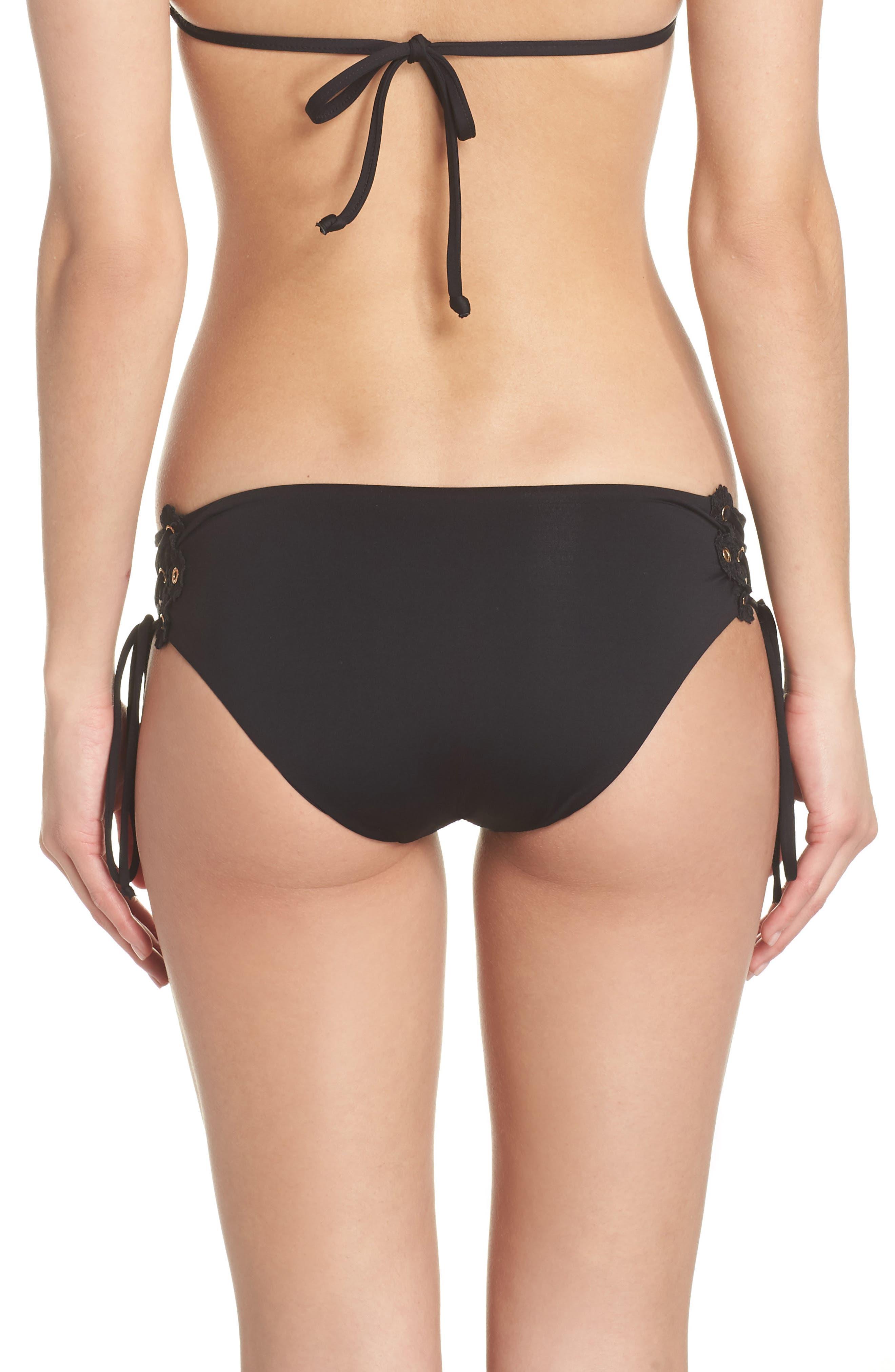 Set Sail Lace-Up Bikini Bottoms,                             Alternate thumbnail 2, color,                             BLACK