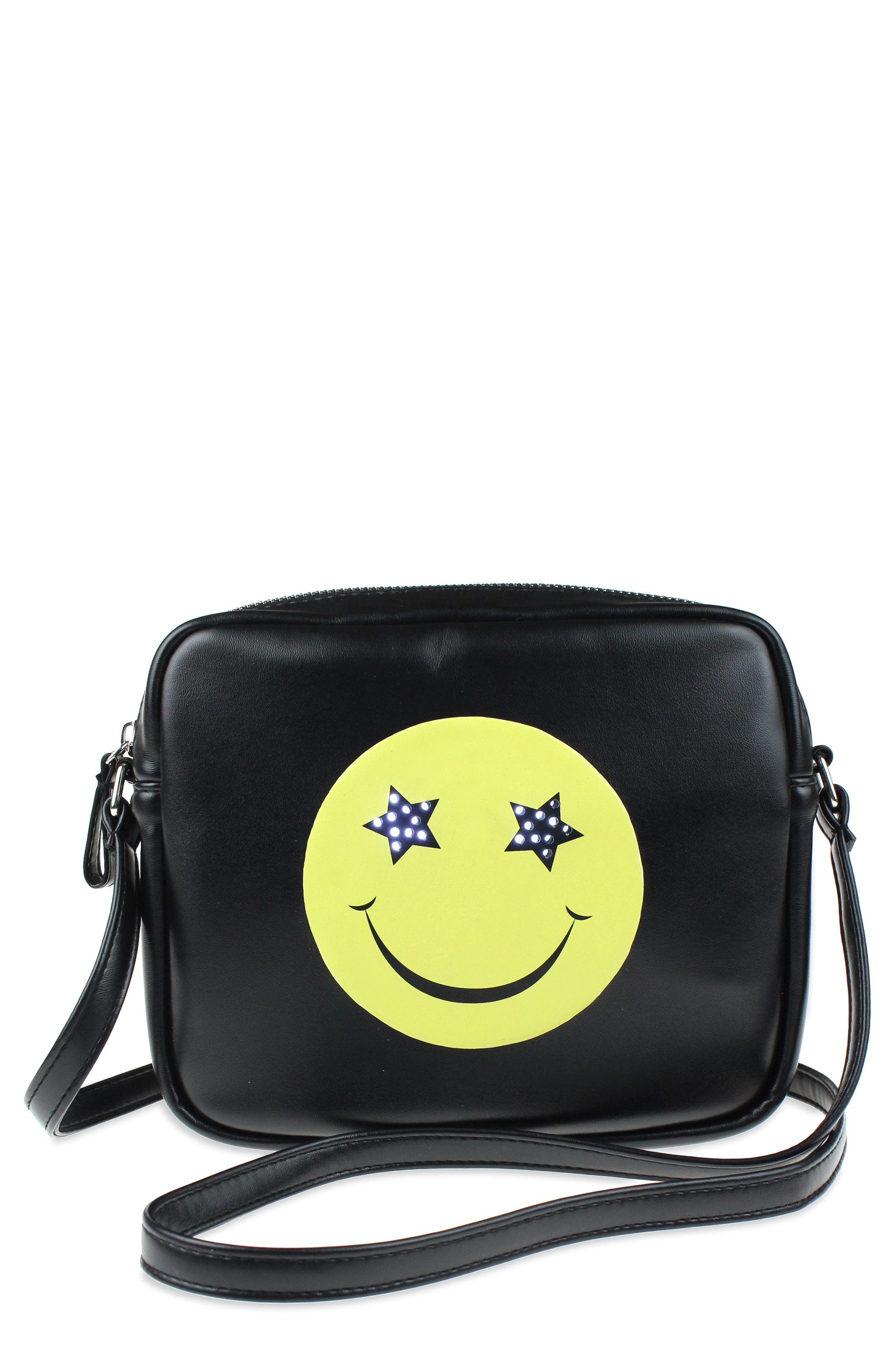 LED Light-Up Smiley Faux Leather Crossbody Bag,                         Main,                         color, 002