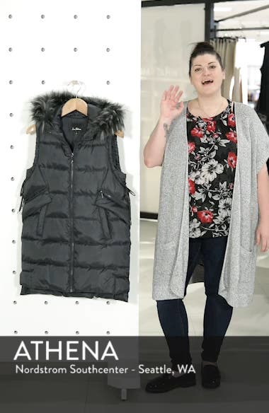 Faux Fur Trim Hooded Side-Tie Vest, sales video thumbnail