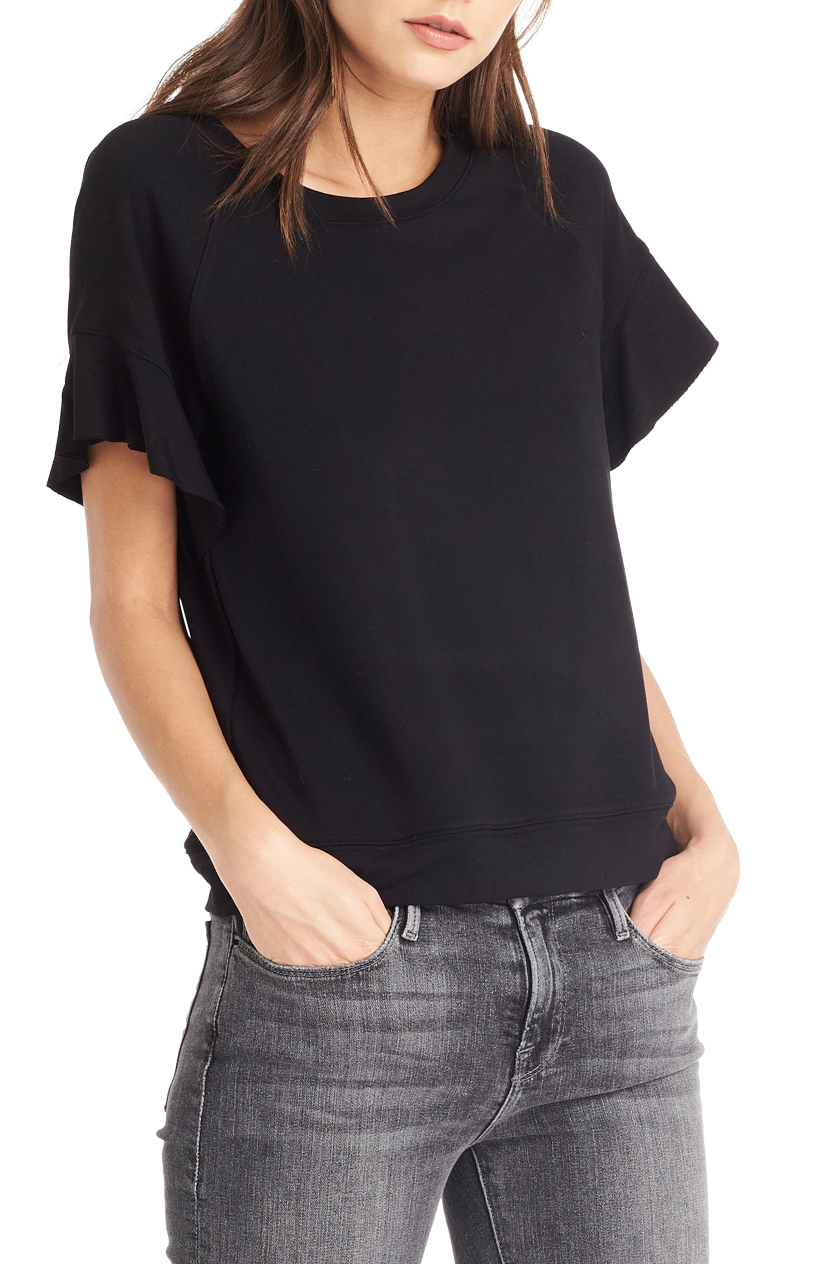 Flutter Sleeve Sweatshirt,                             Alternate thumbnail 4, color,