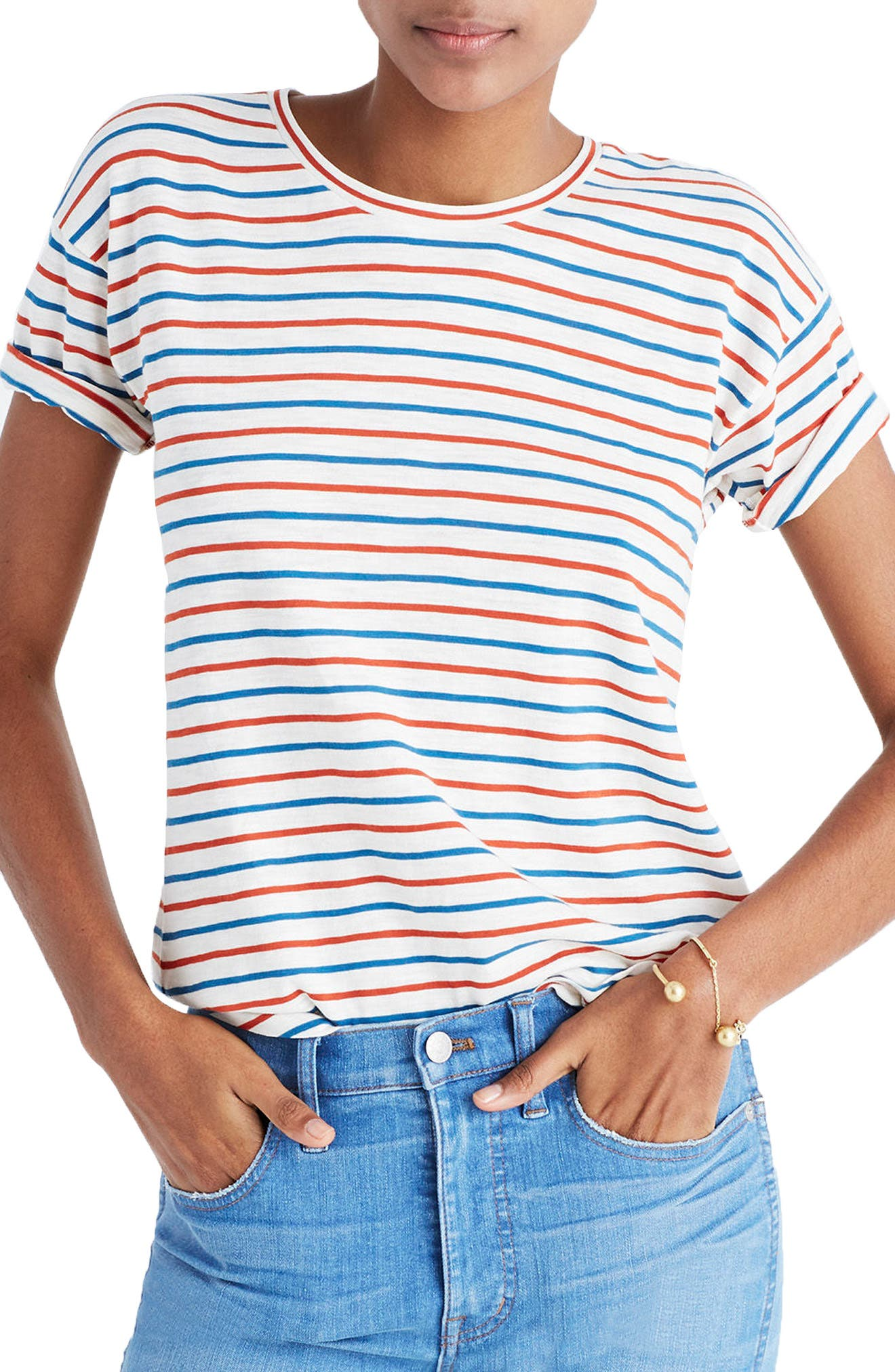 Whisper Cotton Stripe Crewneck Tee,                         Main,                         color, 900