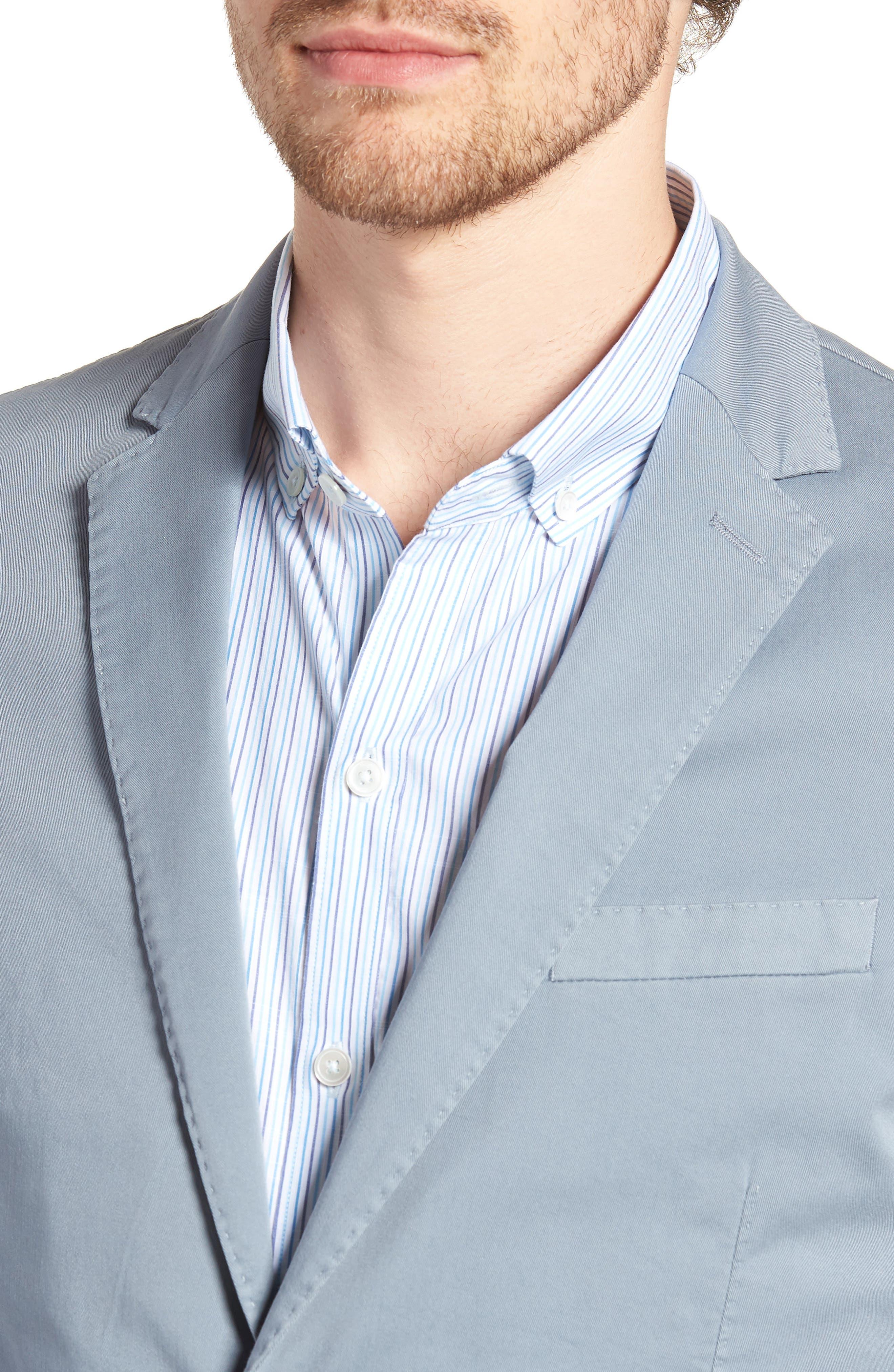 BOSS,                             Hanry-D Trim Fit Stretch Cotton Blazer,                             Alternate thumbnail 4, color,                             BLUE
