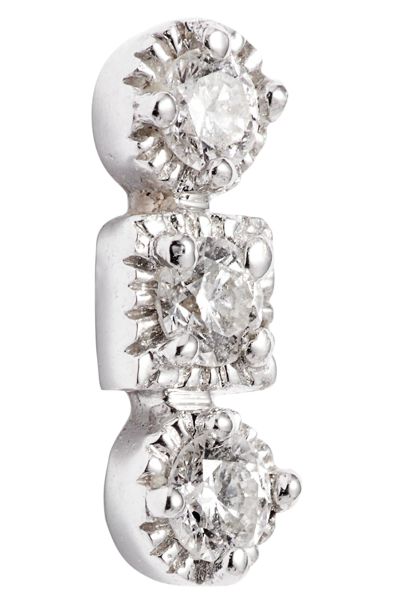 Maya 3-Stone Stud Earrings,                             Alternate thumbnail 5, color,                             WHITE GOLD/ DIAMOND