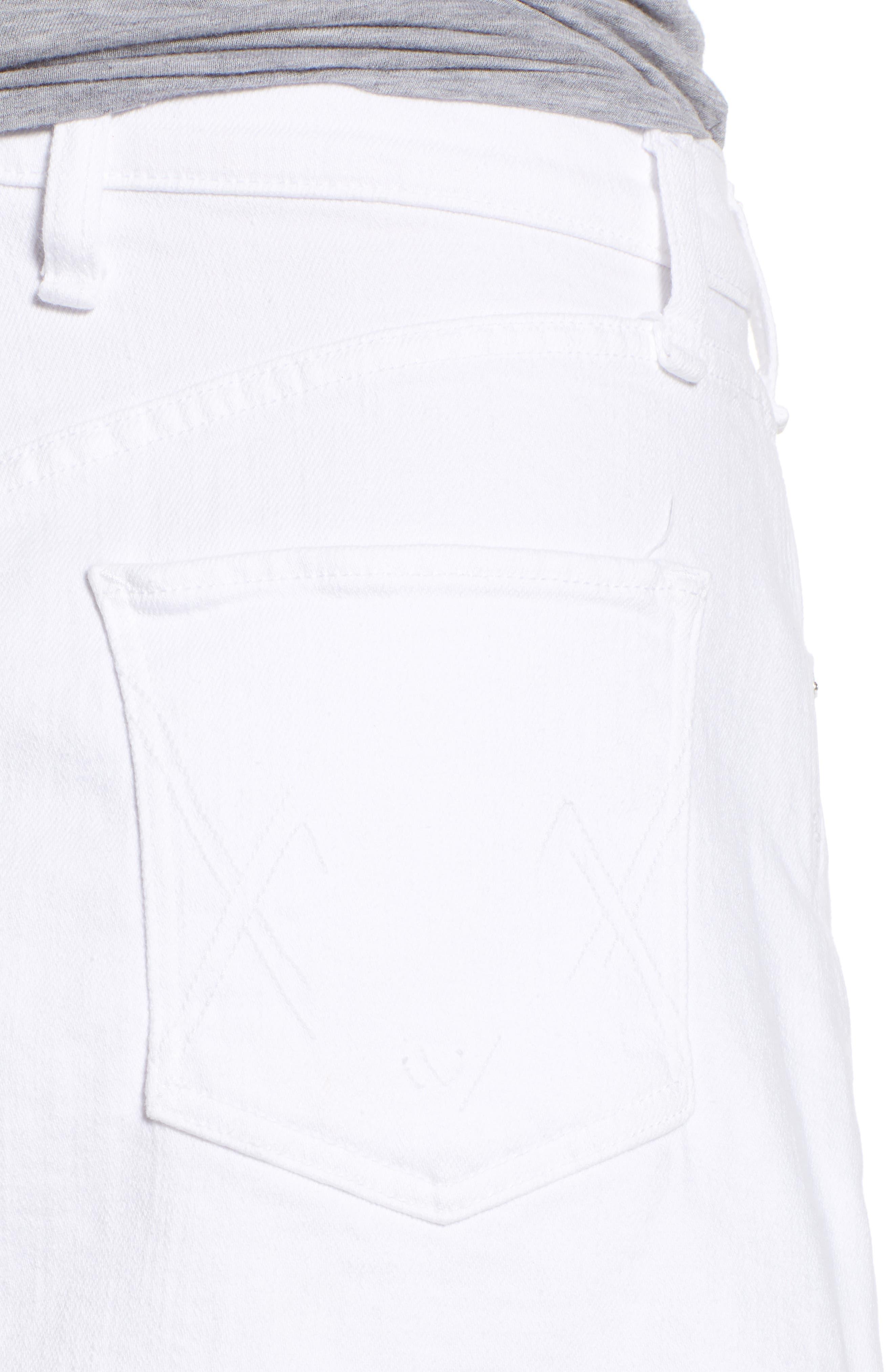 Izabel Angled Hem Denim Skirt,                             Alternate thumbnail 4, color,                             WHITE LIE