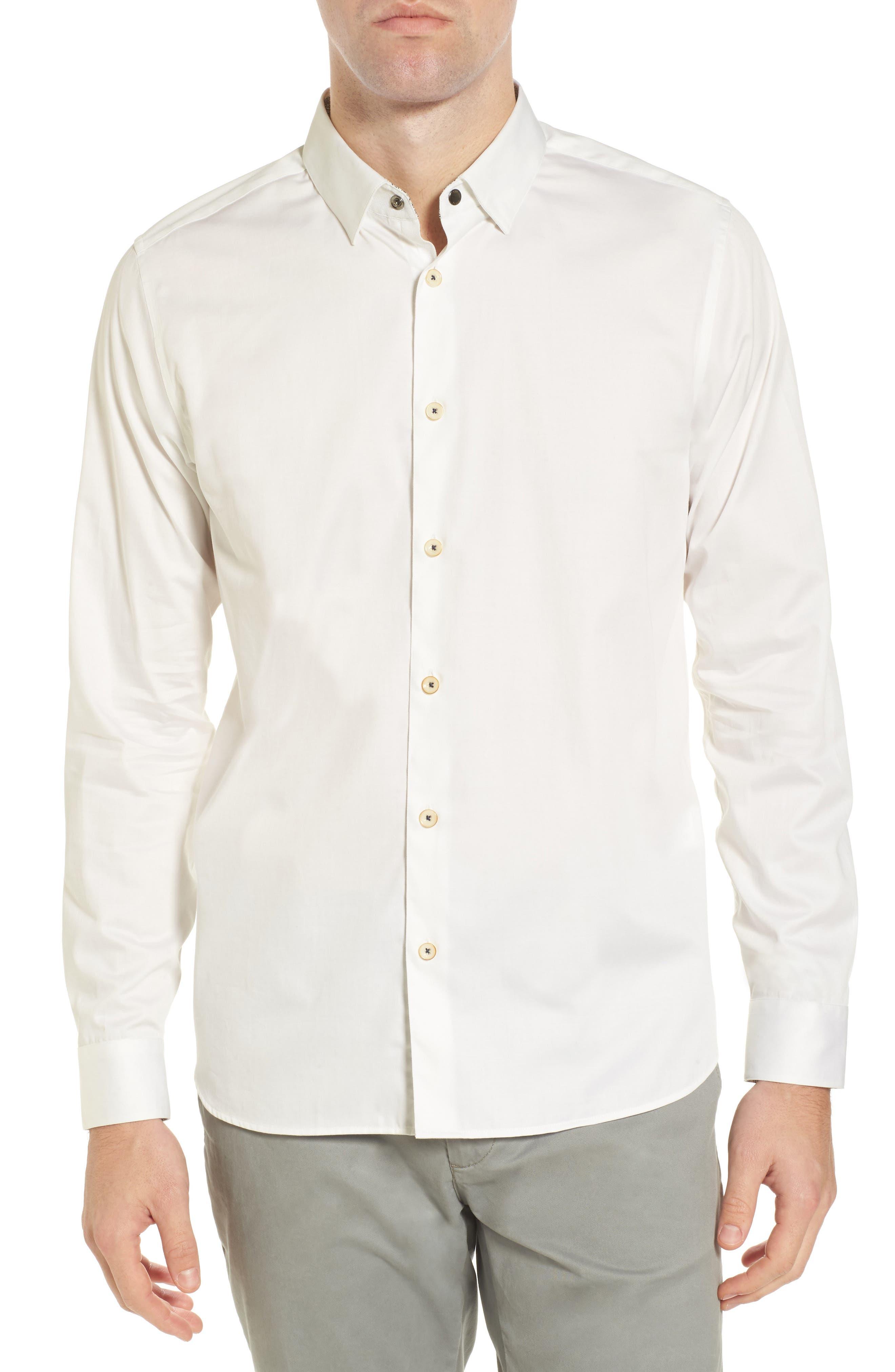 Byllytt Extra Slim Fit Stretch Solid Sport Shirt,                             Main thumbnail 1, color,                             100