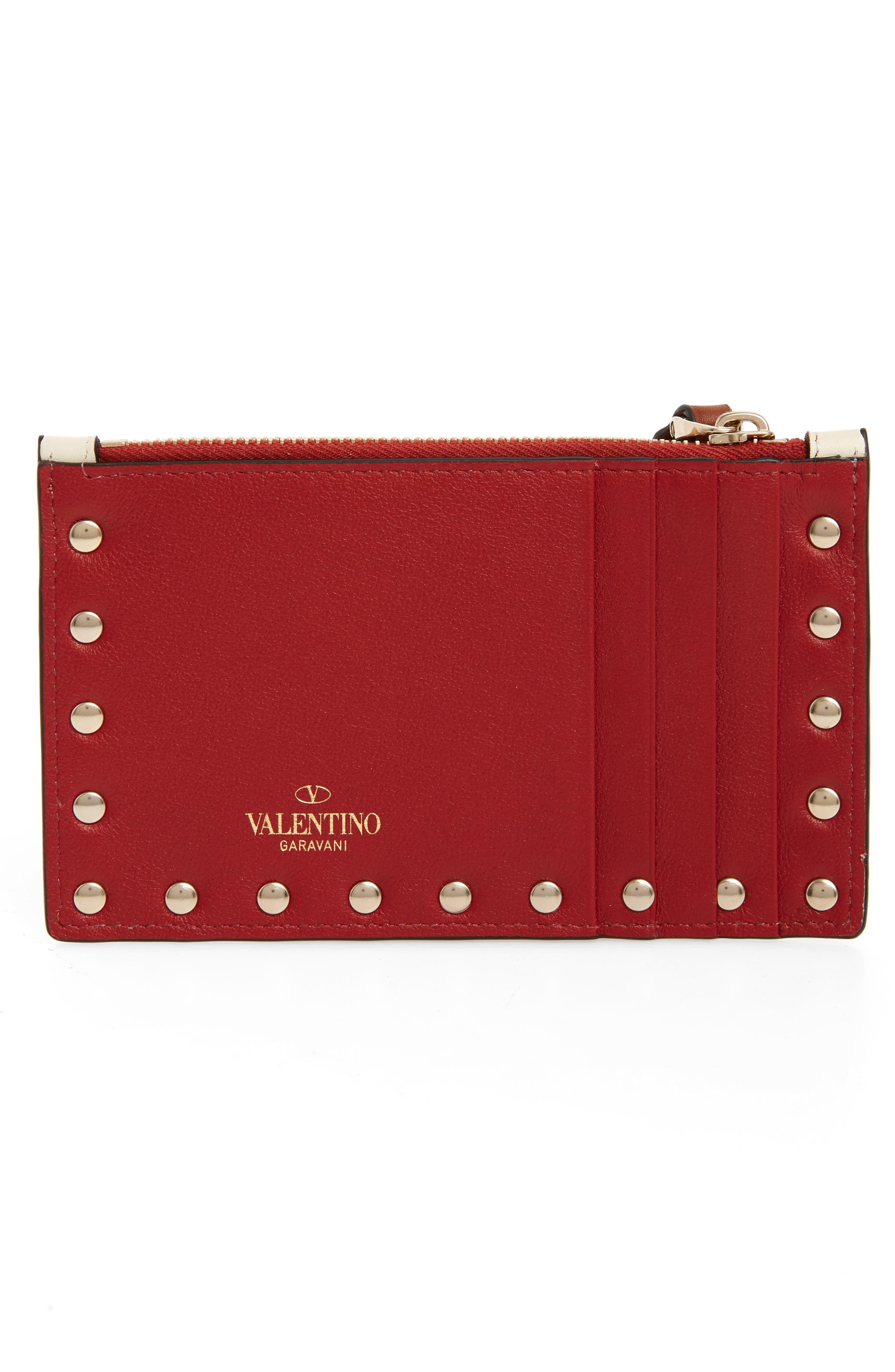 VALENTINO GARAVANI,                             Rockstud Leather Zip Card Case,                             Alternate thumbnail 2, color,                             ROSSO