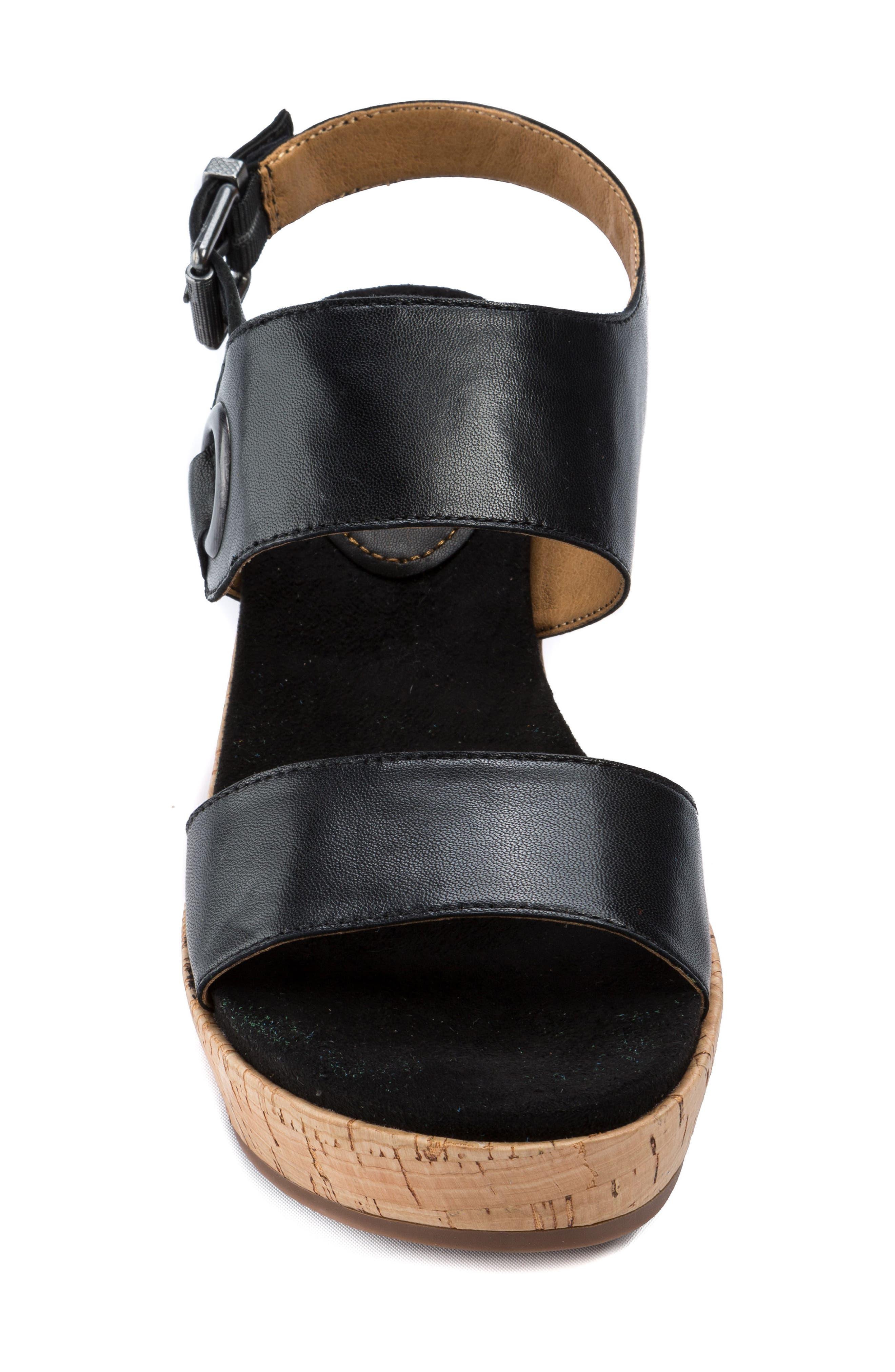 Lauren Platform Wedge Sandal,                             Alternate thumbnail 4, color,                             001