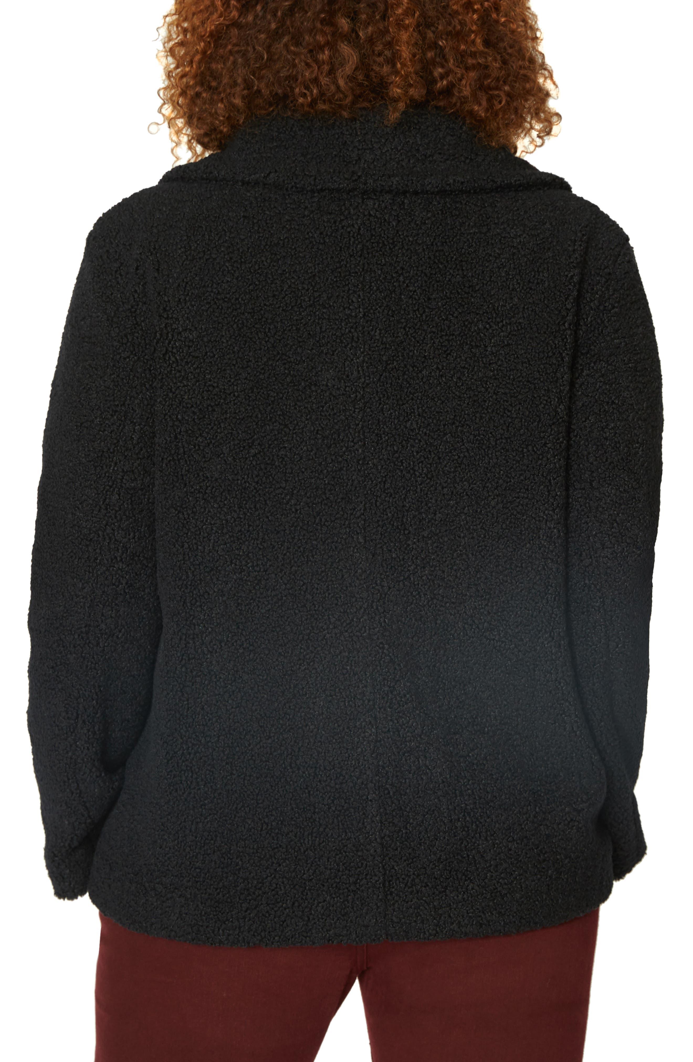 Free Spirit Faux Shearling Coat,                             Alternate thumbnail 2, color,                             BLACK
