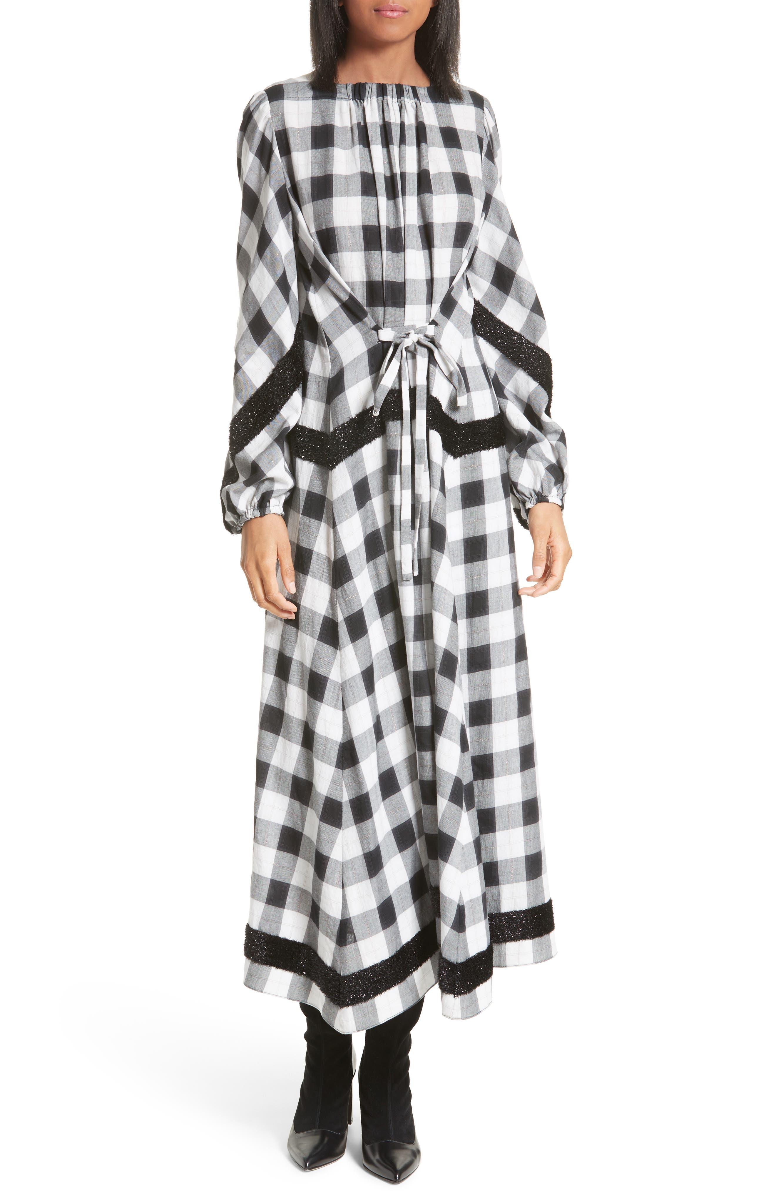 Bouclé Trim Plaid Maxi Dress,                         Main,                         color, 001