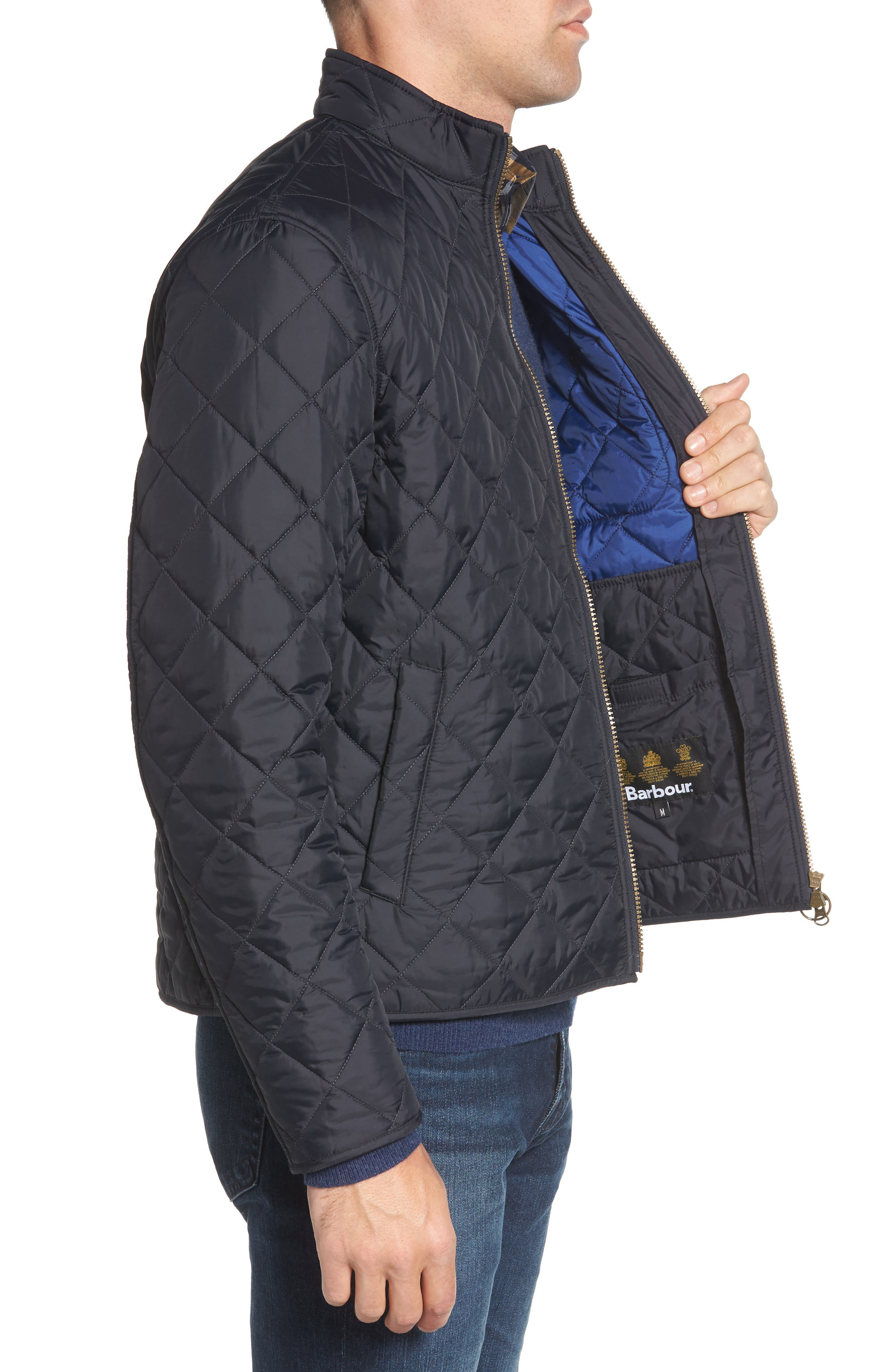 Pod Slim Fit Quilted Jacket,                             Alternate thumbnail 3, color,                             NAVY/ BLUE
