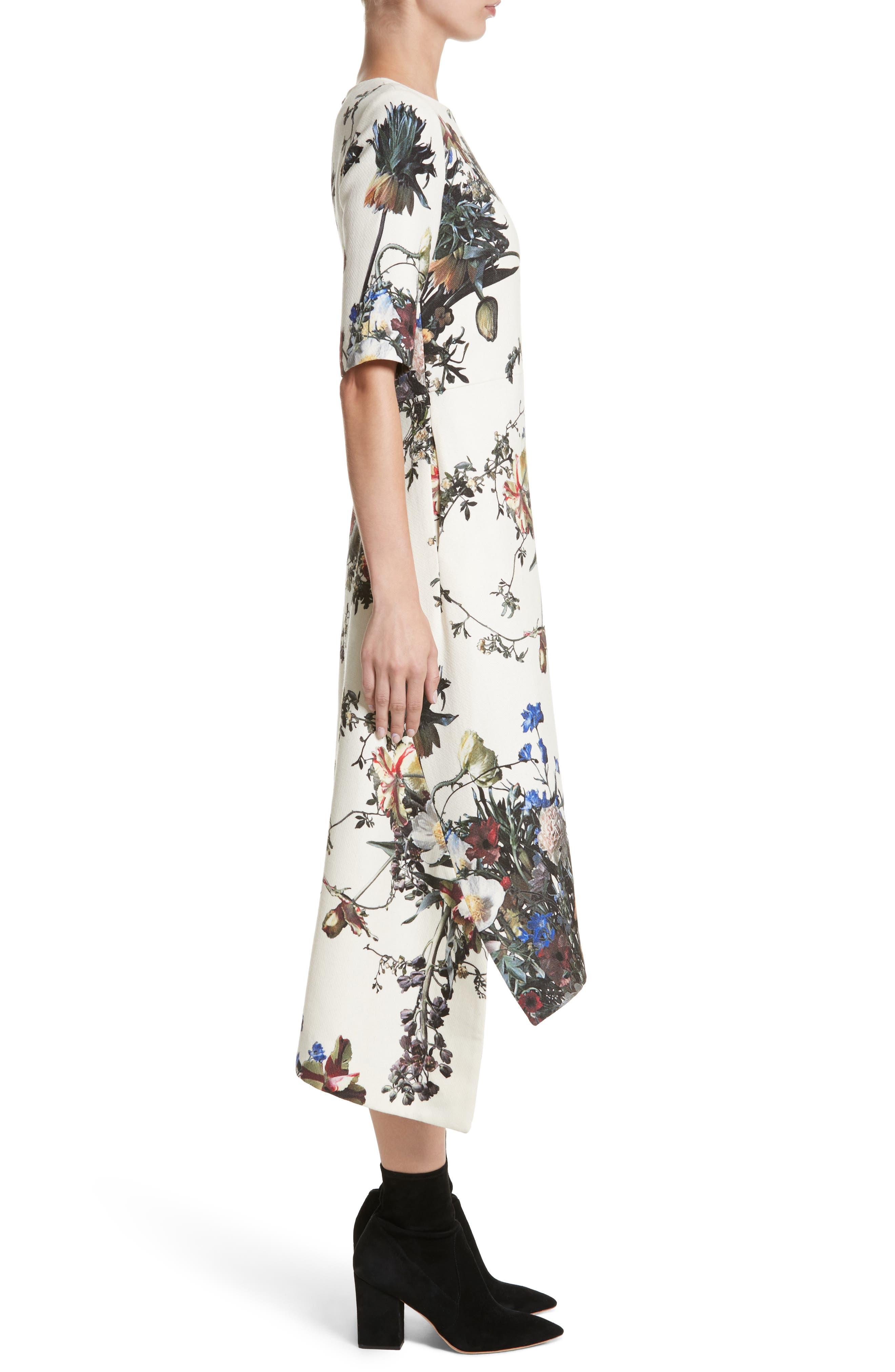 Floral Print Trapeze Dress,                             Alternate thumbnail 3, color,                             900