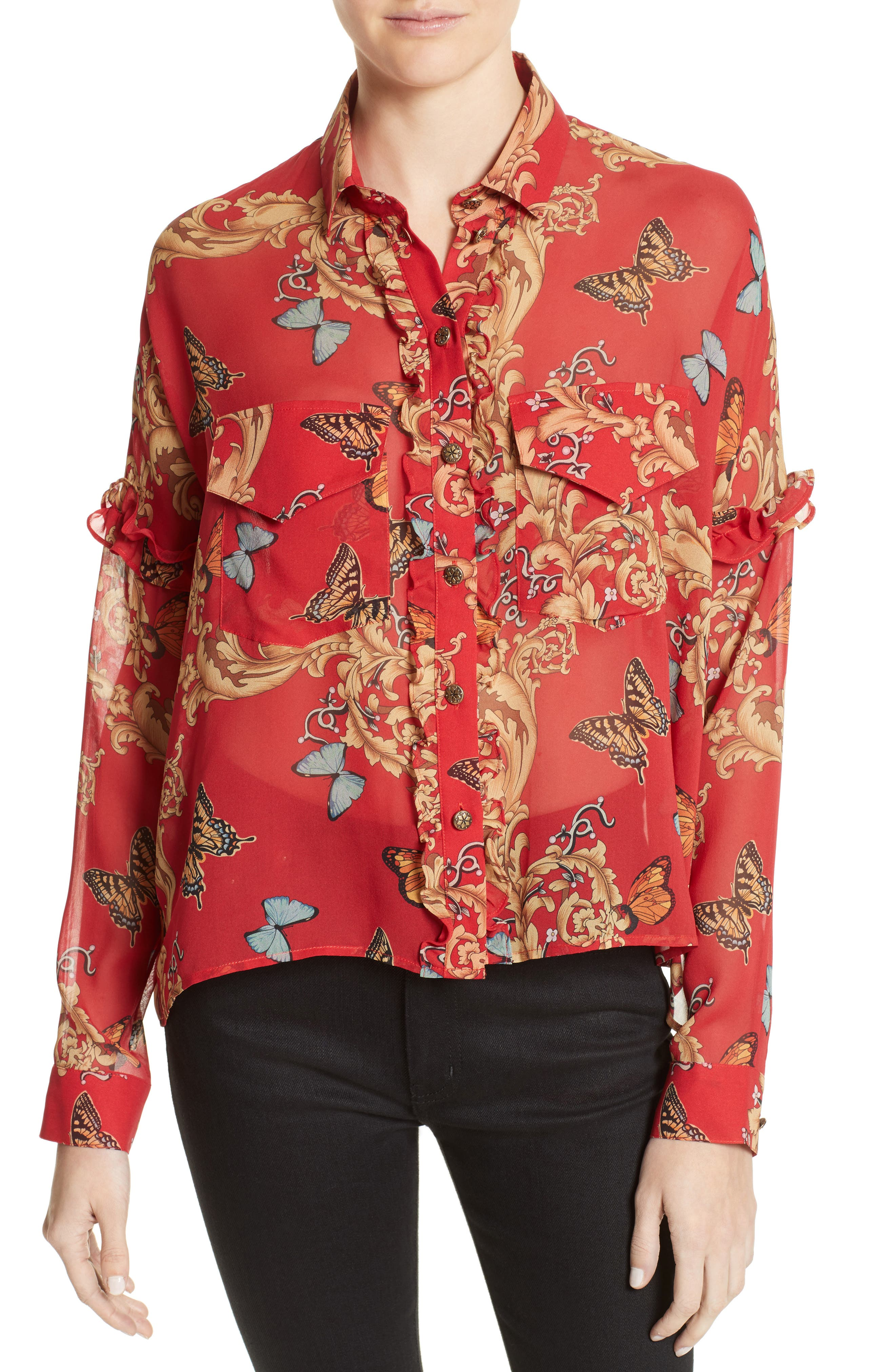 Print Ruffled Silk Shirt,                         Main,                         color, 600