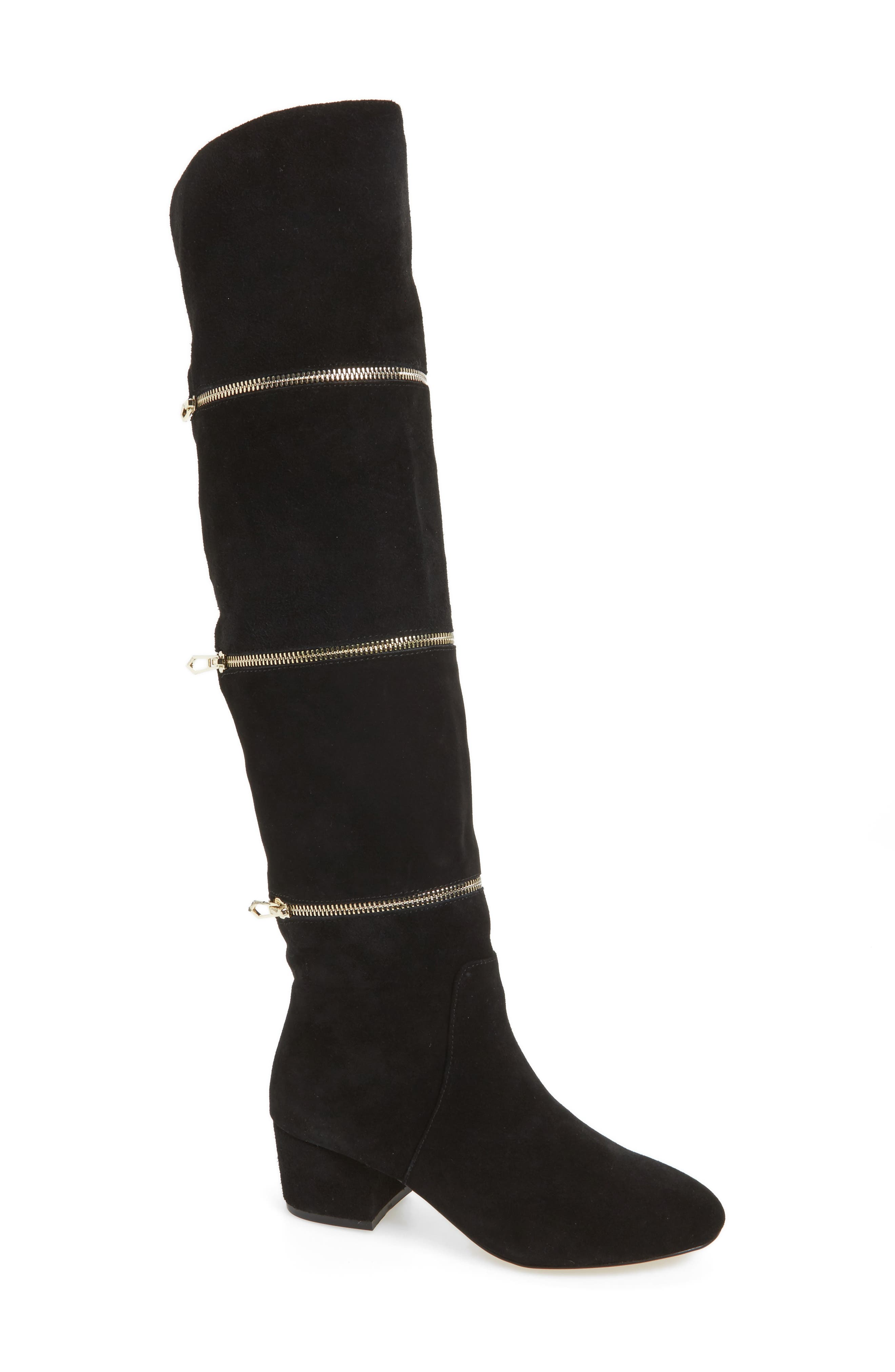 Grace Zip Over the Knee Boot,                             Main thumbnail 1, color,                             001