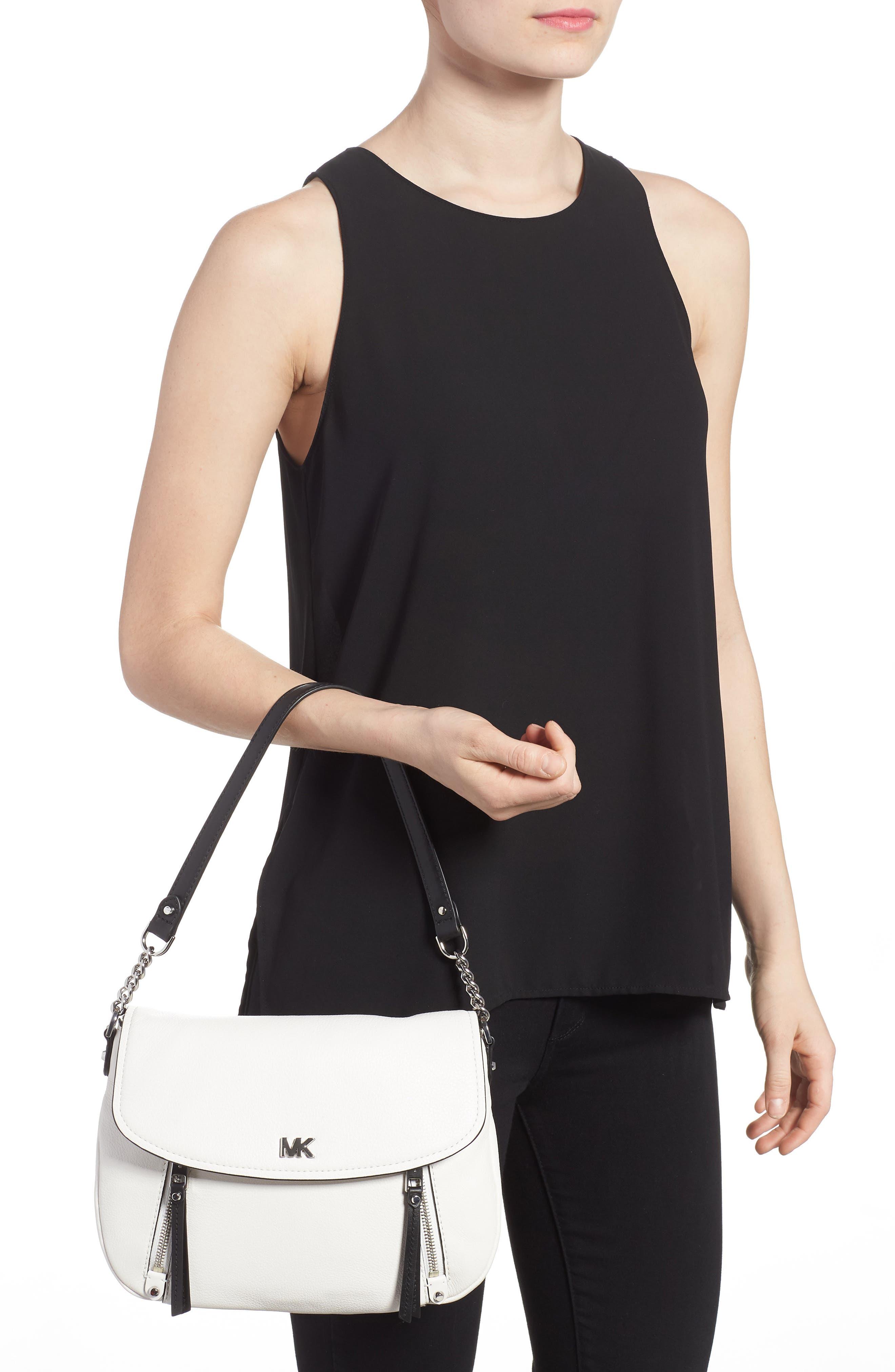 Medium Leather Shoulder Bag,                             Alternate thumbnail 4, color,