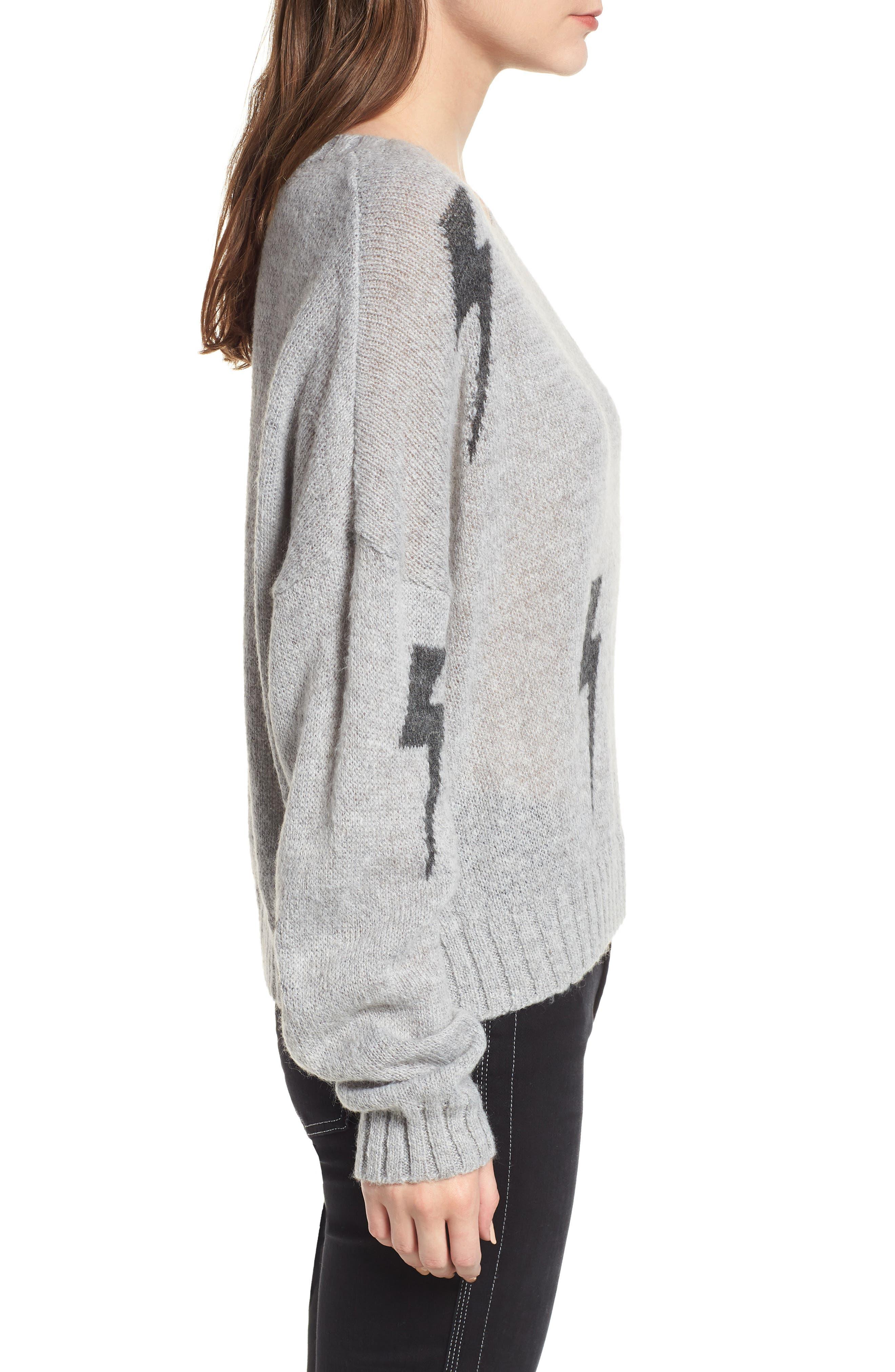 Perci Sweater,                             Alternate thumbnail 4, color,                             GREY/CHARCOAL LIGHTNING