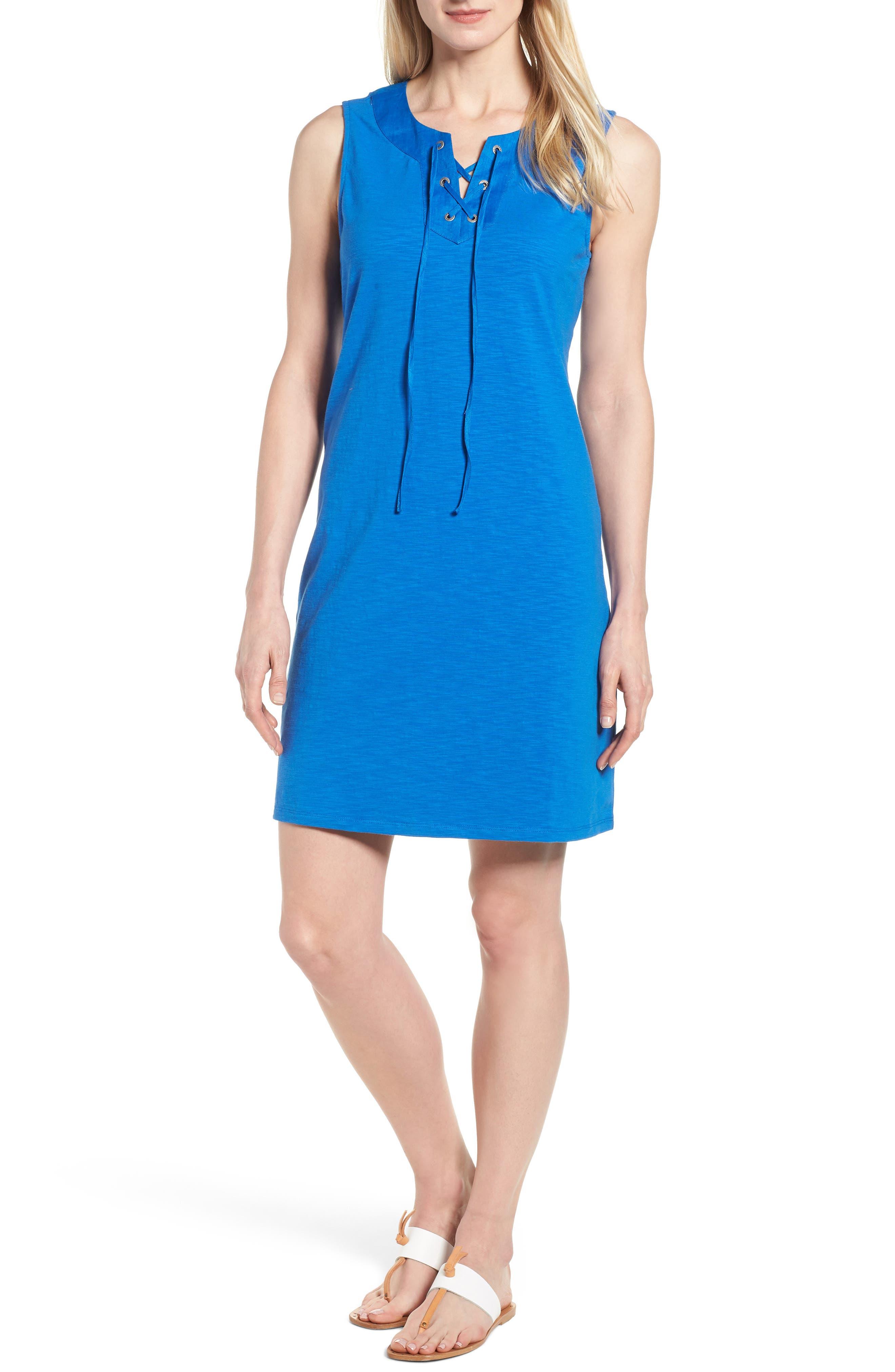 Lace-Up Shift Dress,                         Main,                         color, COBALT SEA