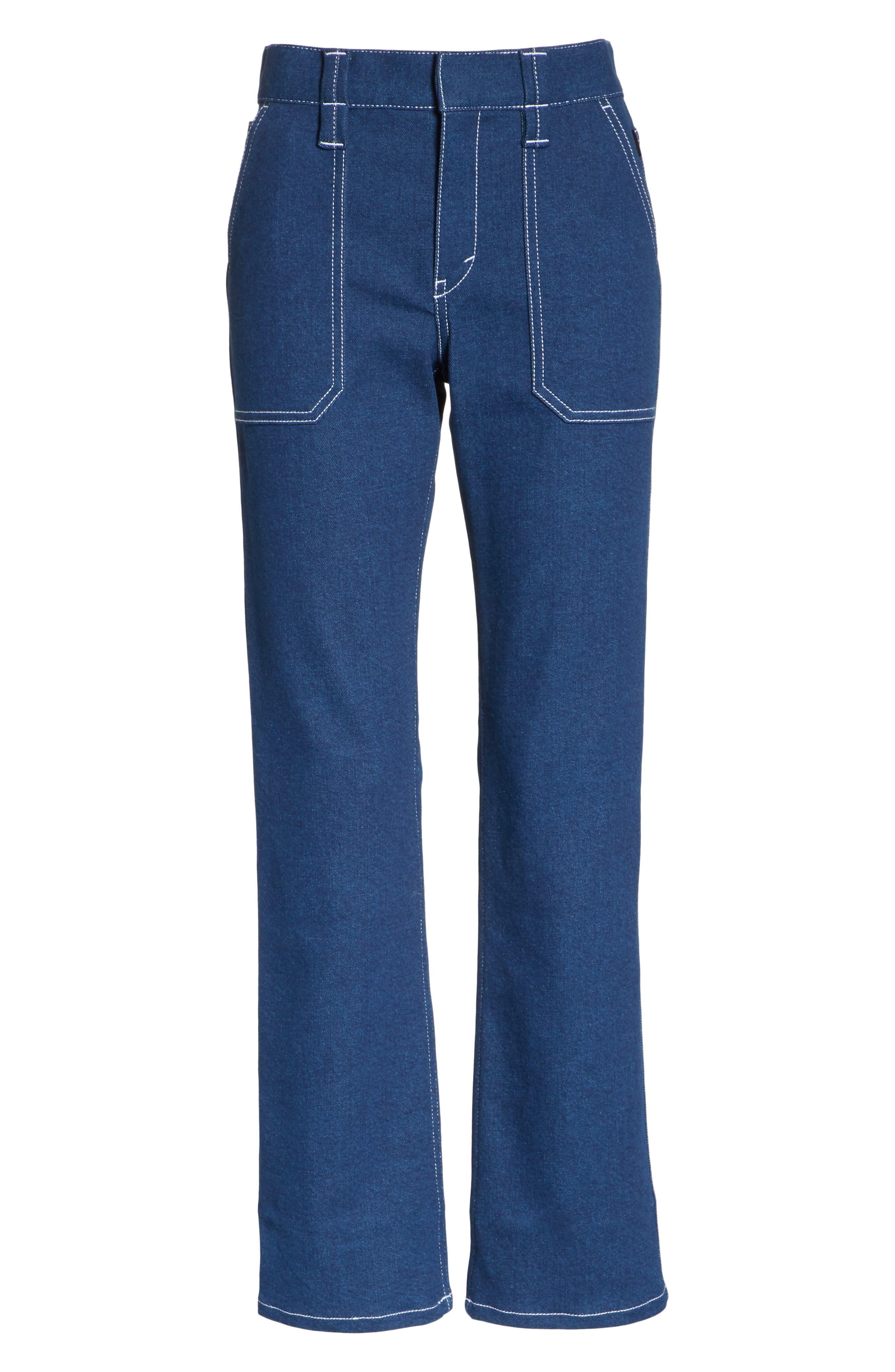 Contrast Circle Stitch Jeans,                             Alternate thumbnail 6, color,                             400