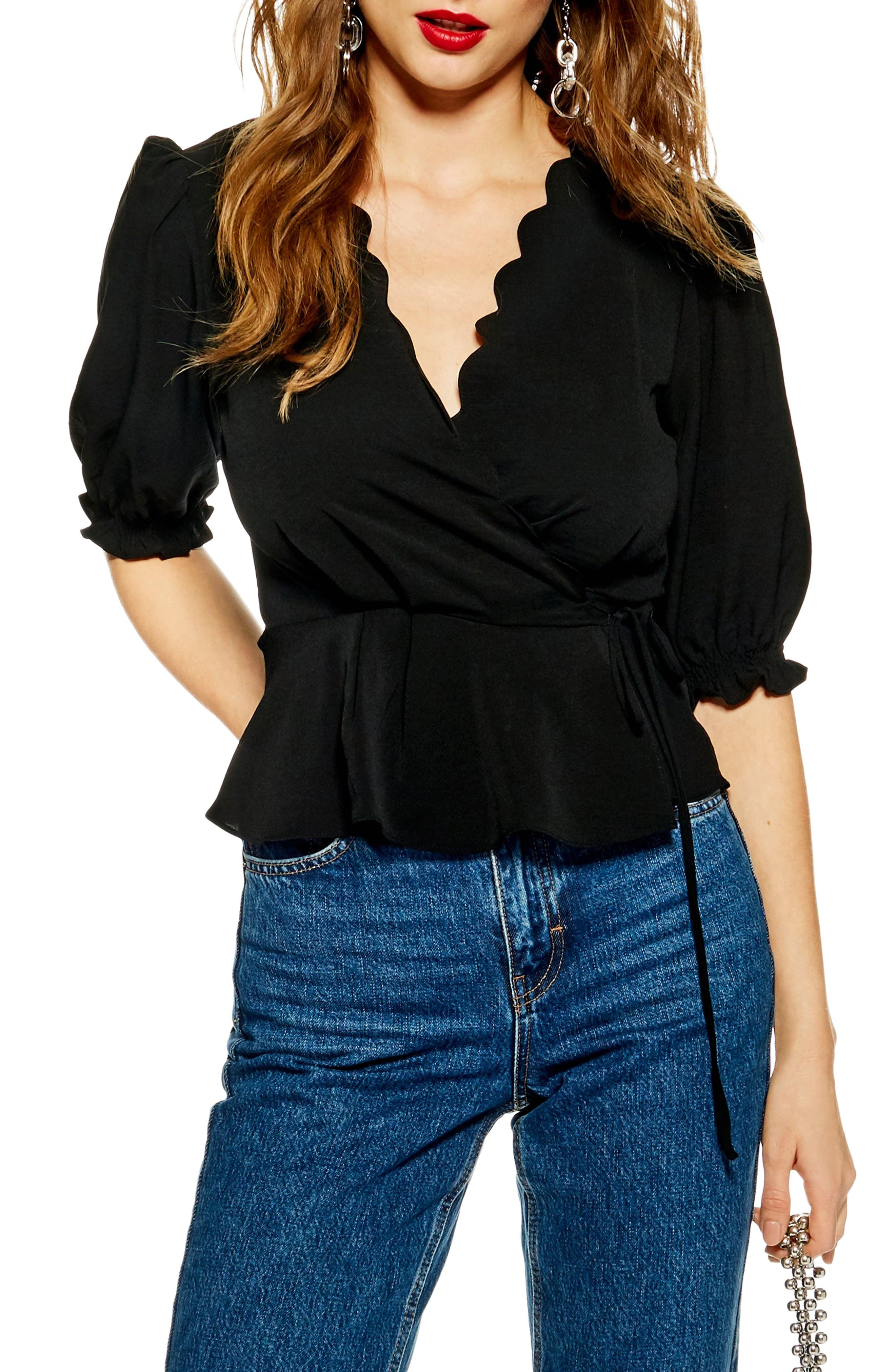 TOPSHOP Scarlett Scalloped Wrap Blouse, Main, color, BLACK