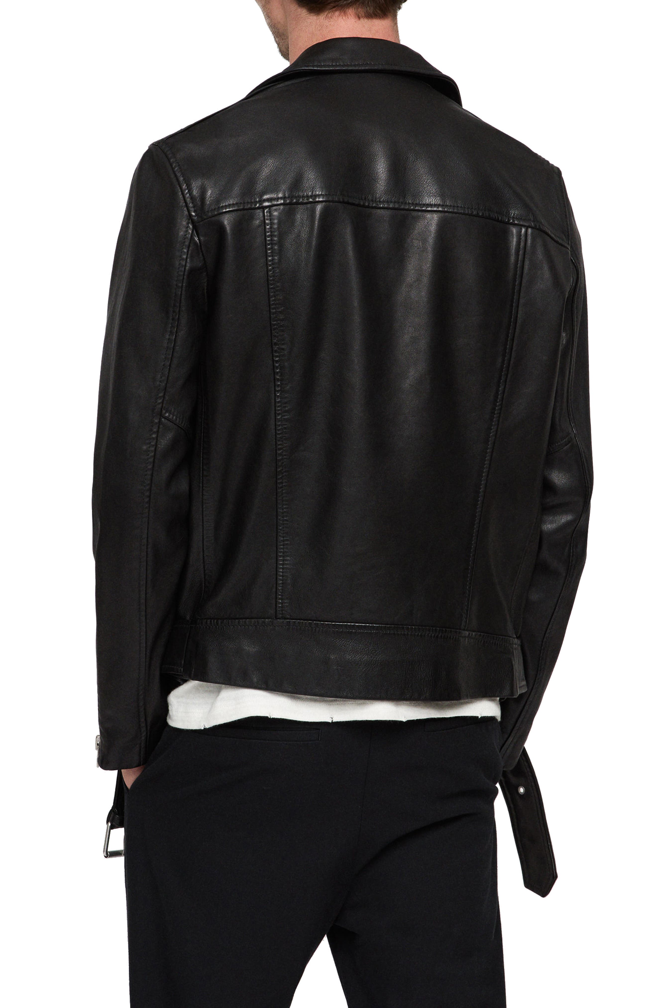 Wick Slim Fit Leather Biker Jacket,                             Alternate thumbnail 2, color,                             BLACK