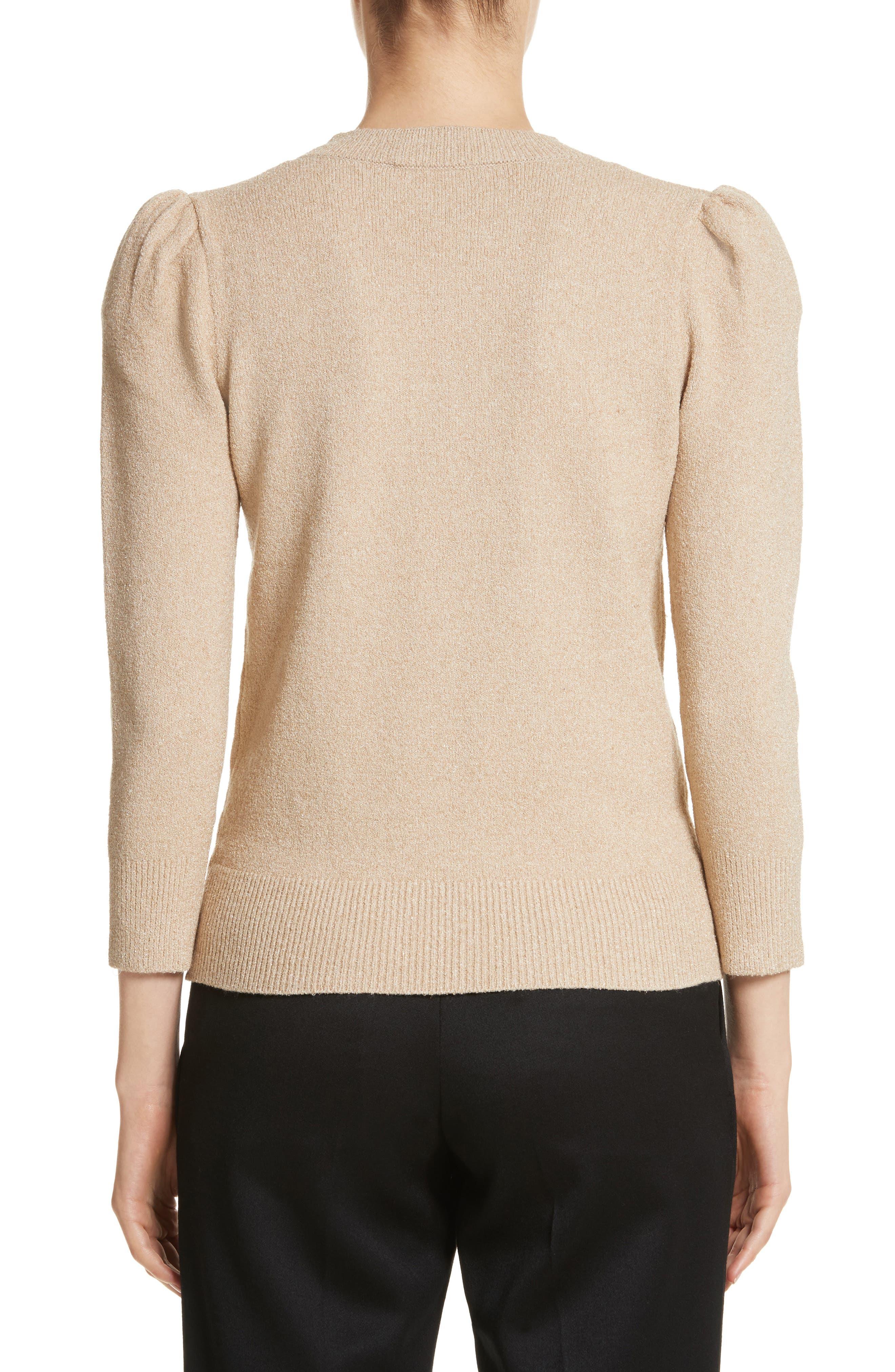 Metallic Knit Puff Sleeve Sweater,                             Alternate thumbnail 2, color,                             200