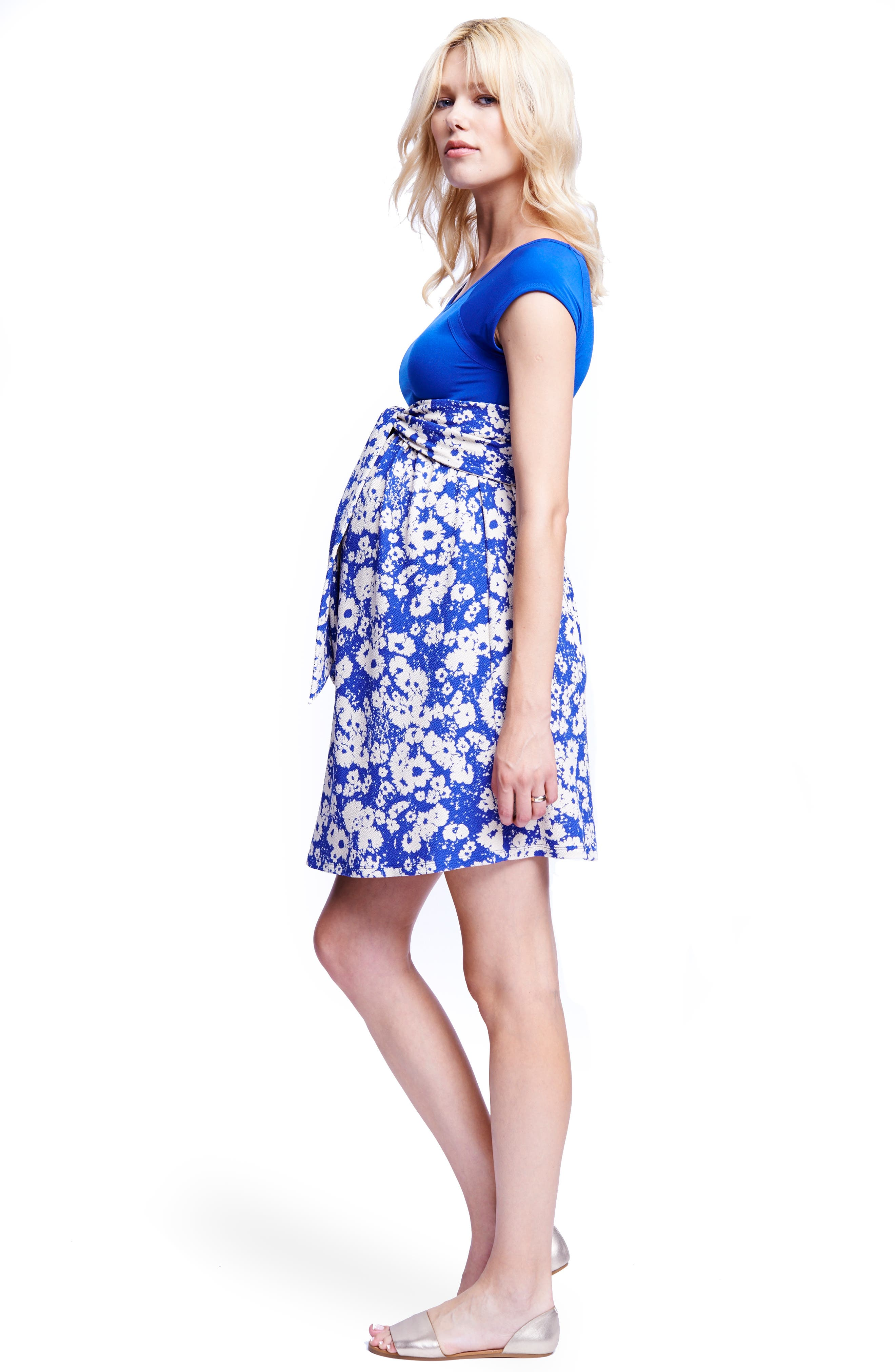 Tie Front Maternity Dress,                             Alternate thumbnail 5, color,                             ROYAL BLUE/ ABSTRACT DAISY