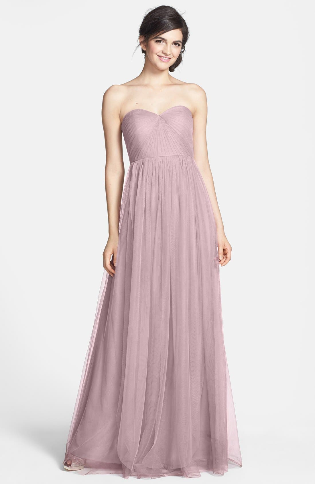 Jenny Yoo Annabelle Convertible Tulle Column Dress, Purple
