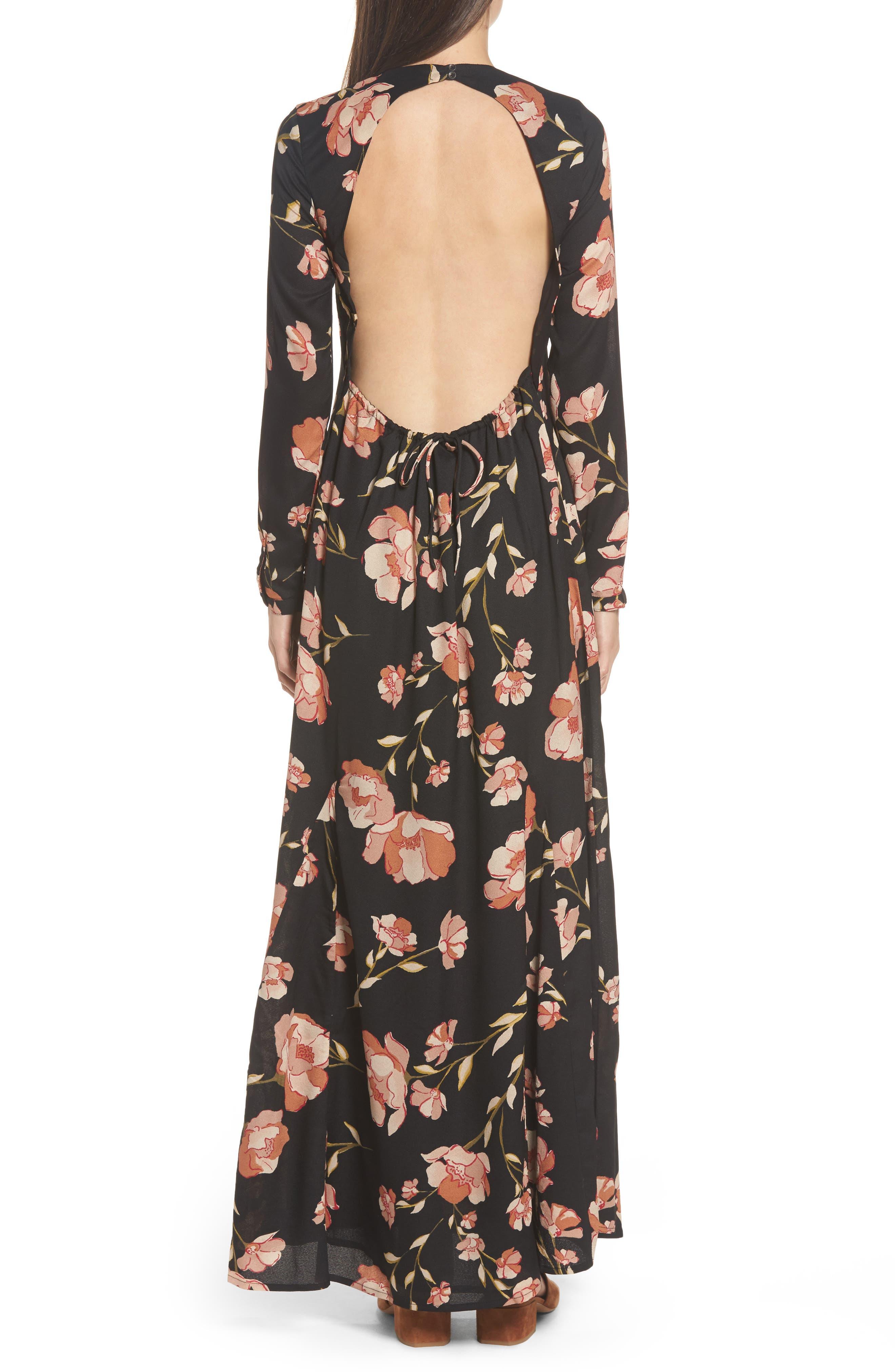 Floral Print Maxi Dress,                             Alternate thumbnail 2, color,                             001