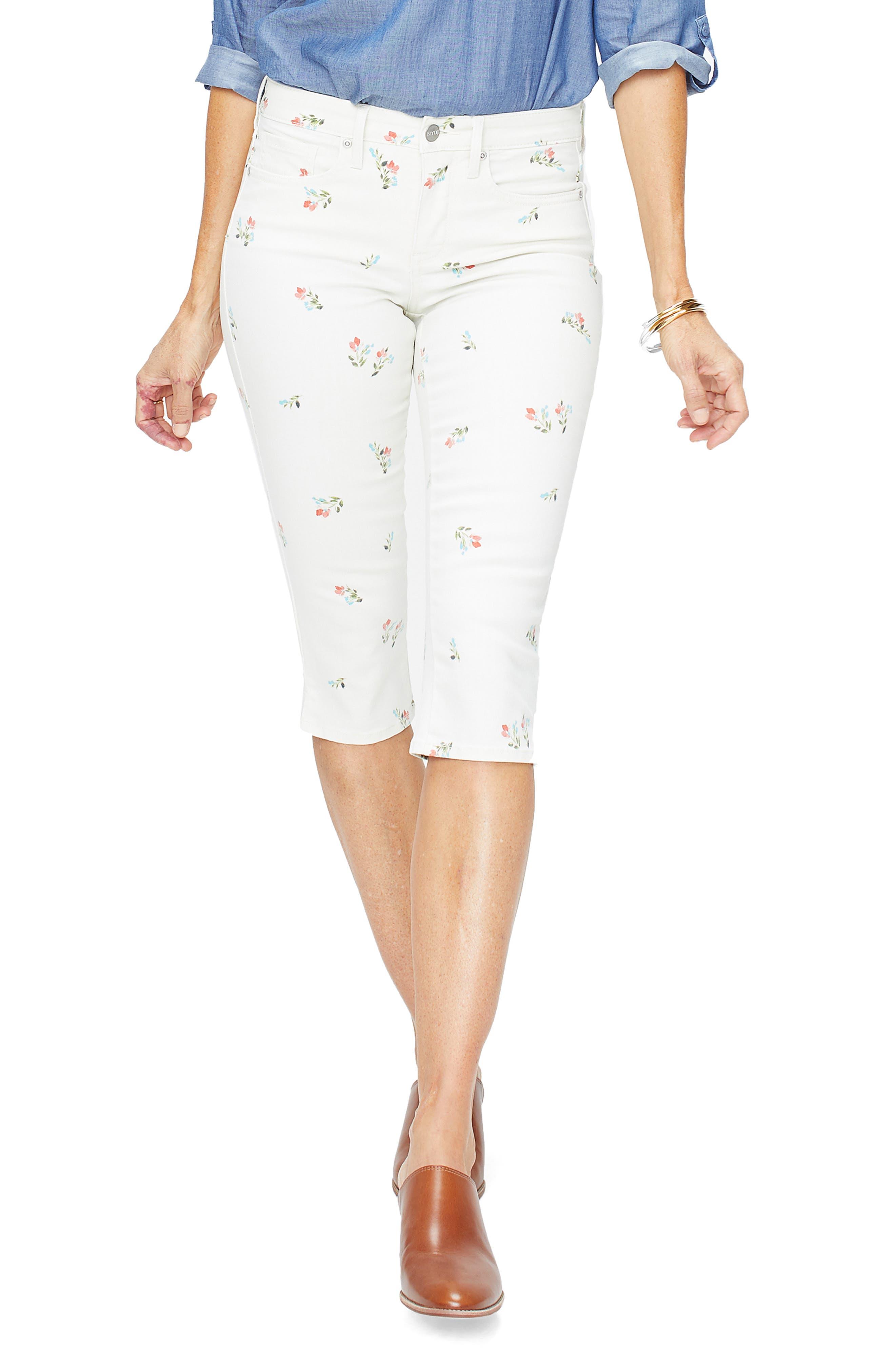 Nydj Floral Print Skinny Capri Pants, White