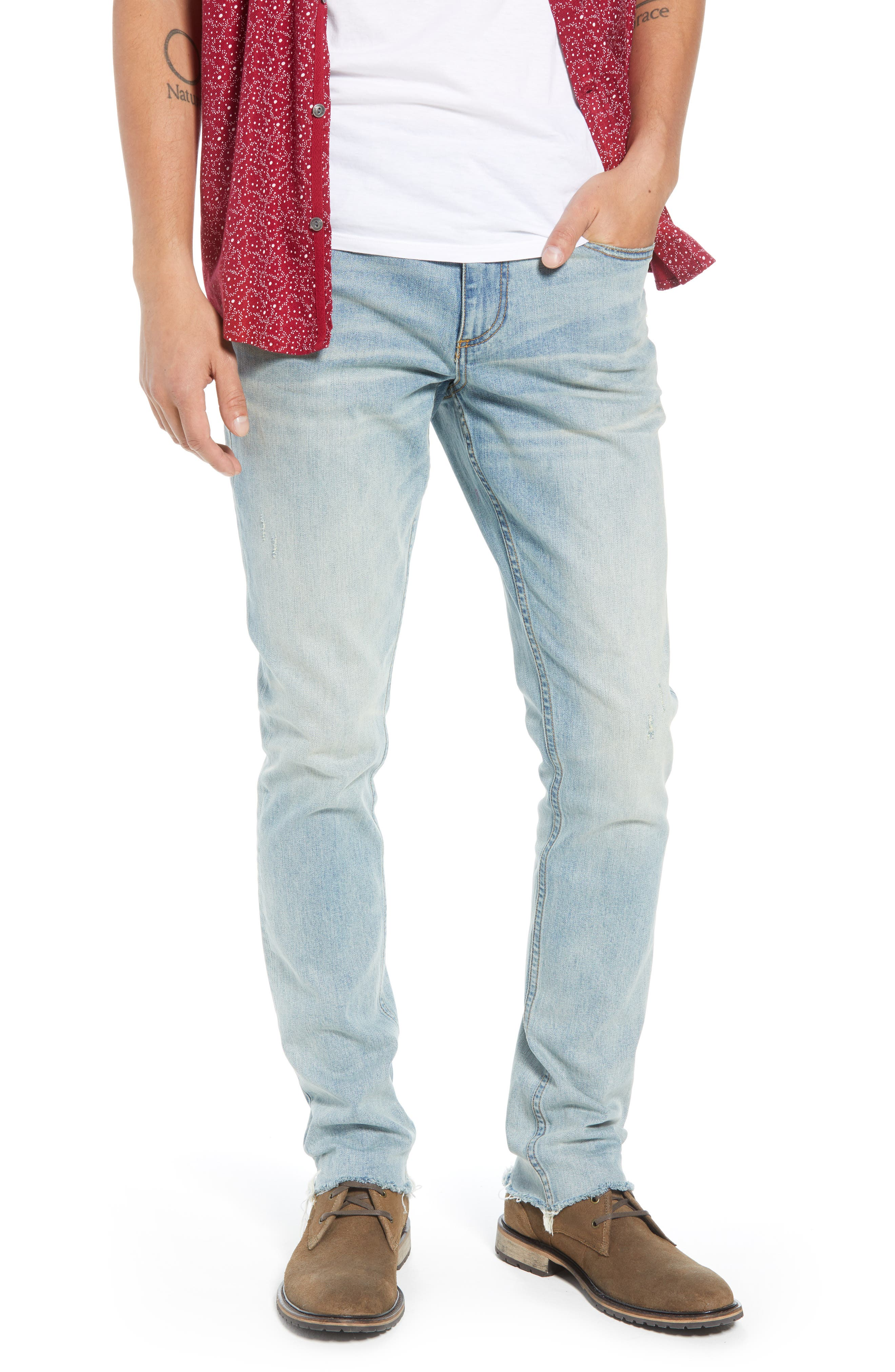 Slim Fit Jeans,                             Main thumbnail 1, color,                             BLUE FADED LIGHT WASH